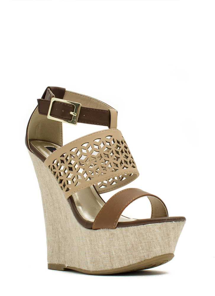 Lattice Rejoice Strappy Canvas Wedges BROWN