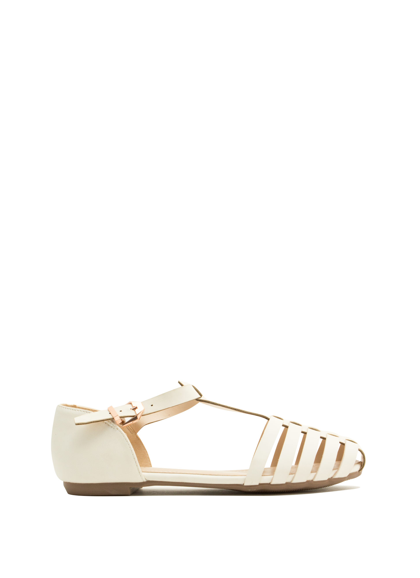 Wander Warrior T-Strap Flats WHITE