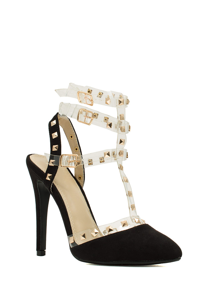 Clearly Studly Strappy Pointy Heels BLACK