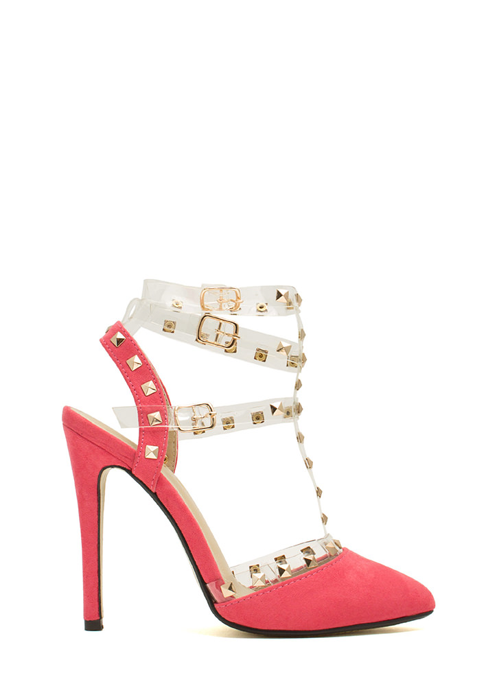 Clearly Studly Strappy Pointy Heels CORAL