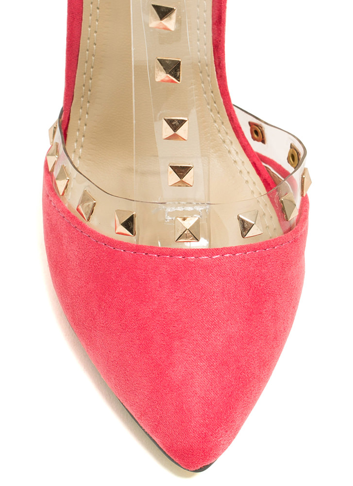 Clearly Studly Strappy Pointy Heels CORAL (Final Sale)