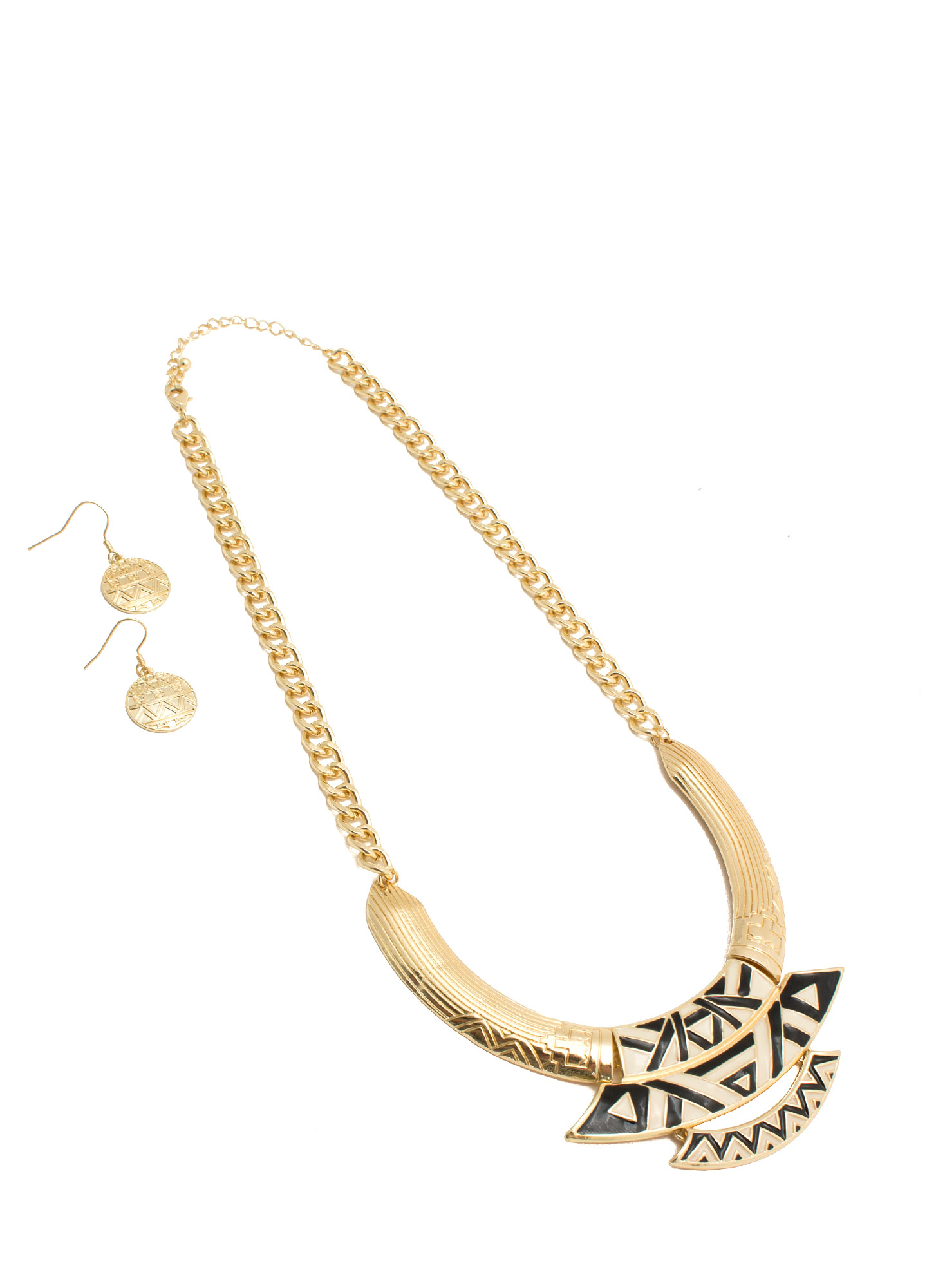 Bib Of Tribal Plates Necklace Set GOLDBLACK