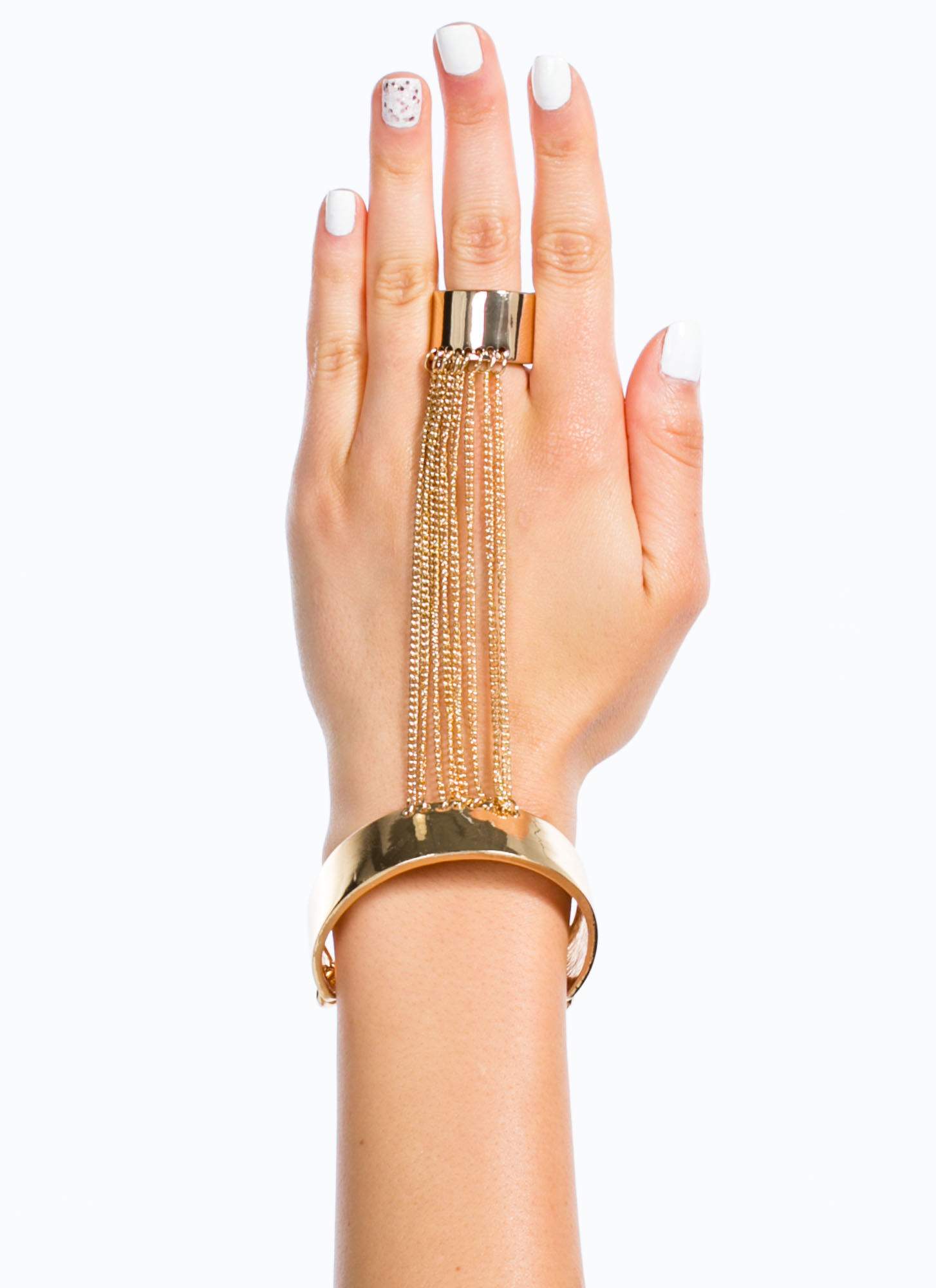 Chained And Cuffed Hand Bracelet GOLD