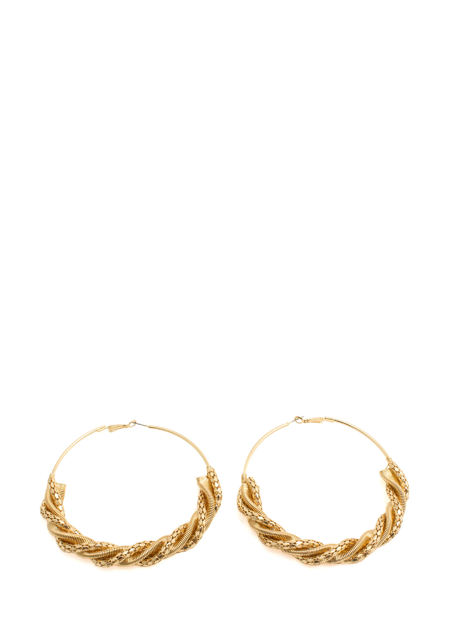 Oversized Twisted Chain Hoop Earrings GOLD