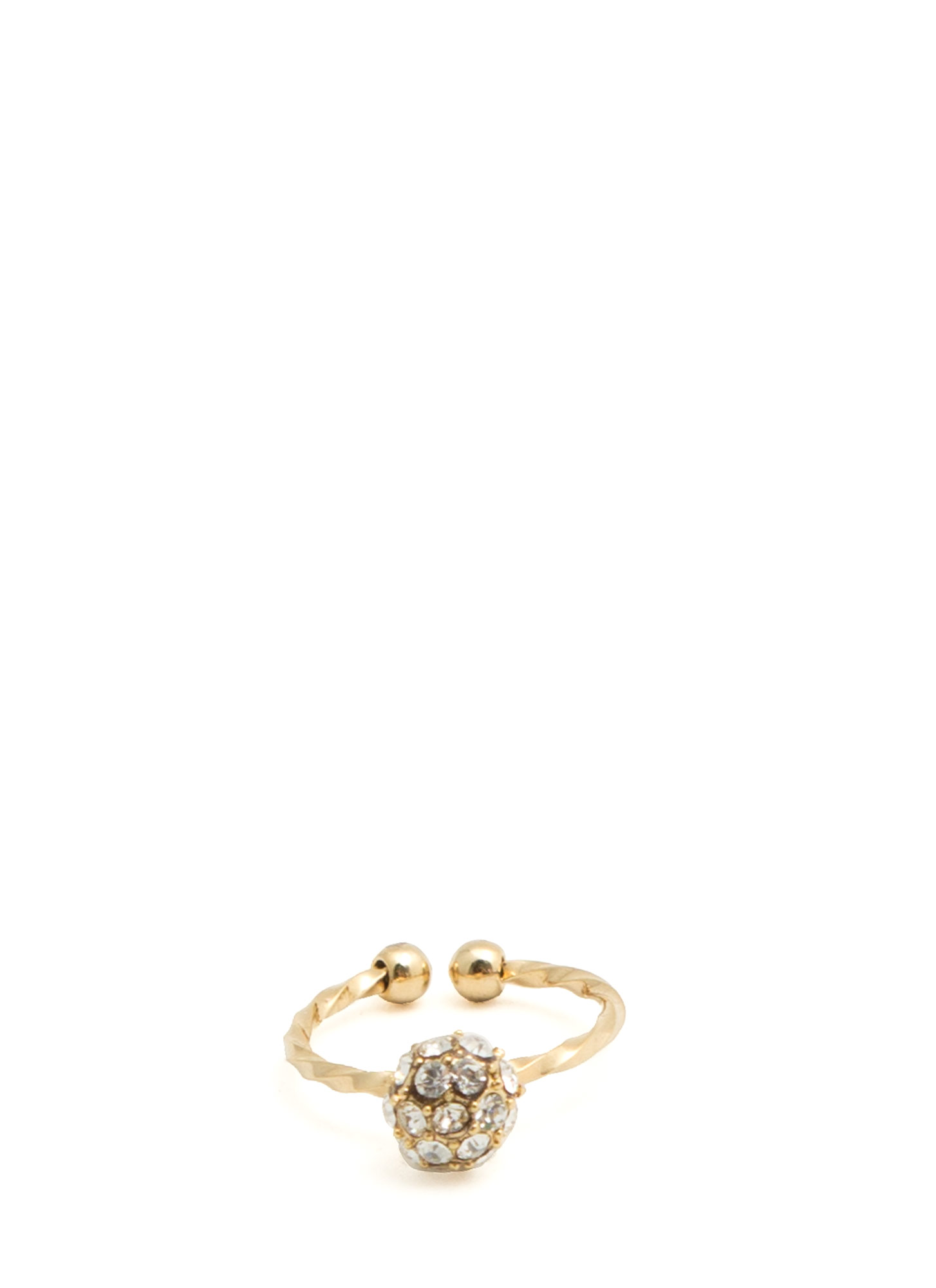 Jeweled Disco Ball Twisted Midi Ring GOLD