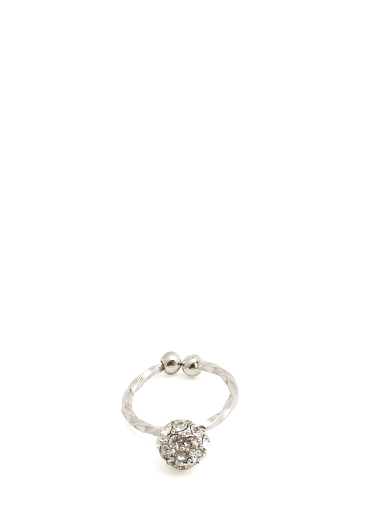 Jeweled Disco Ball Twisted Midi Ring SILVER