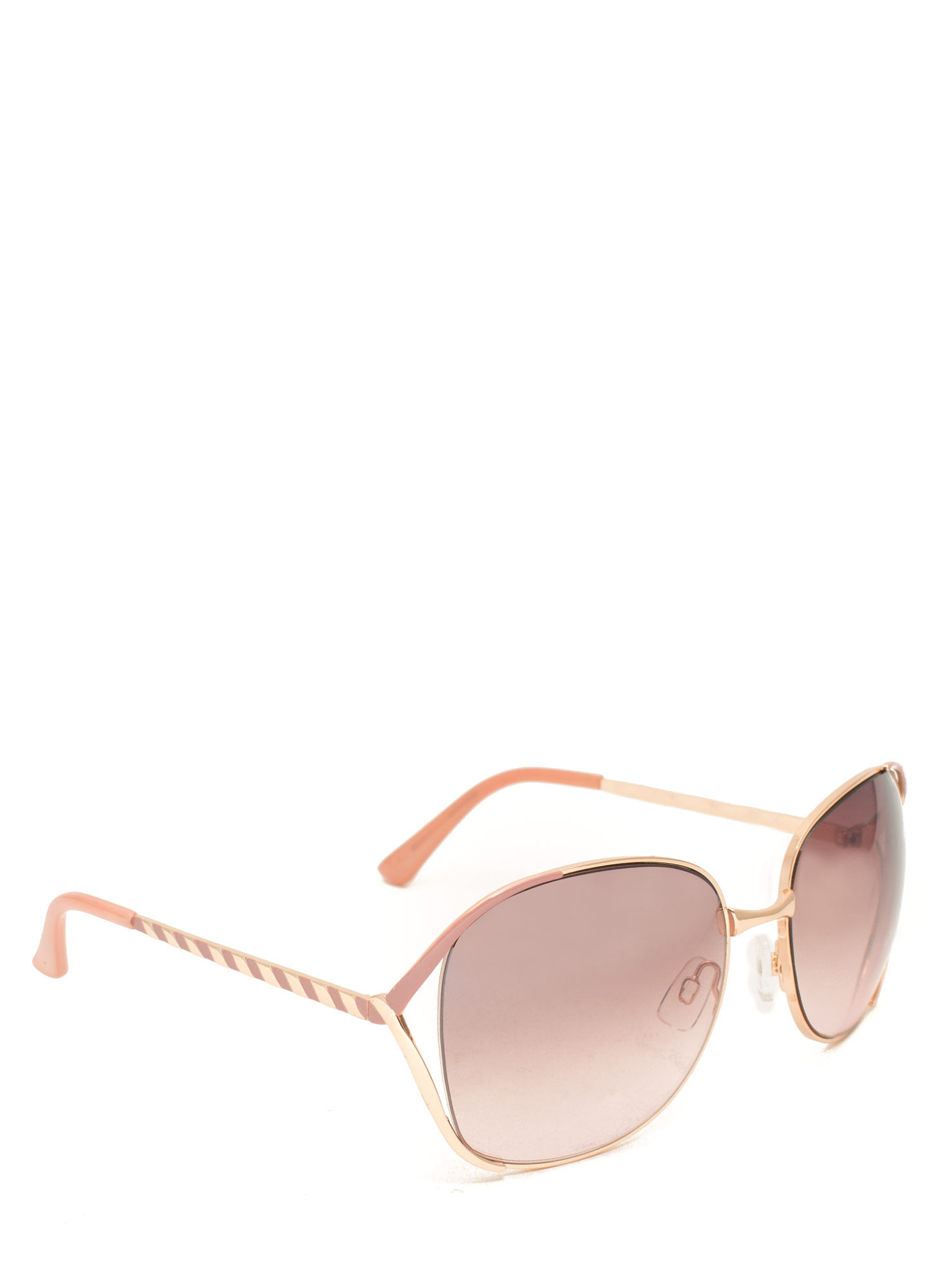 Oversized 'N Striped Sunglasses MAUVE