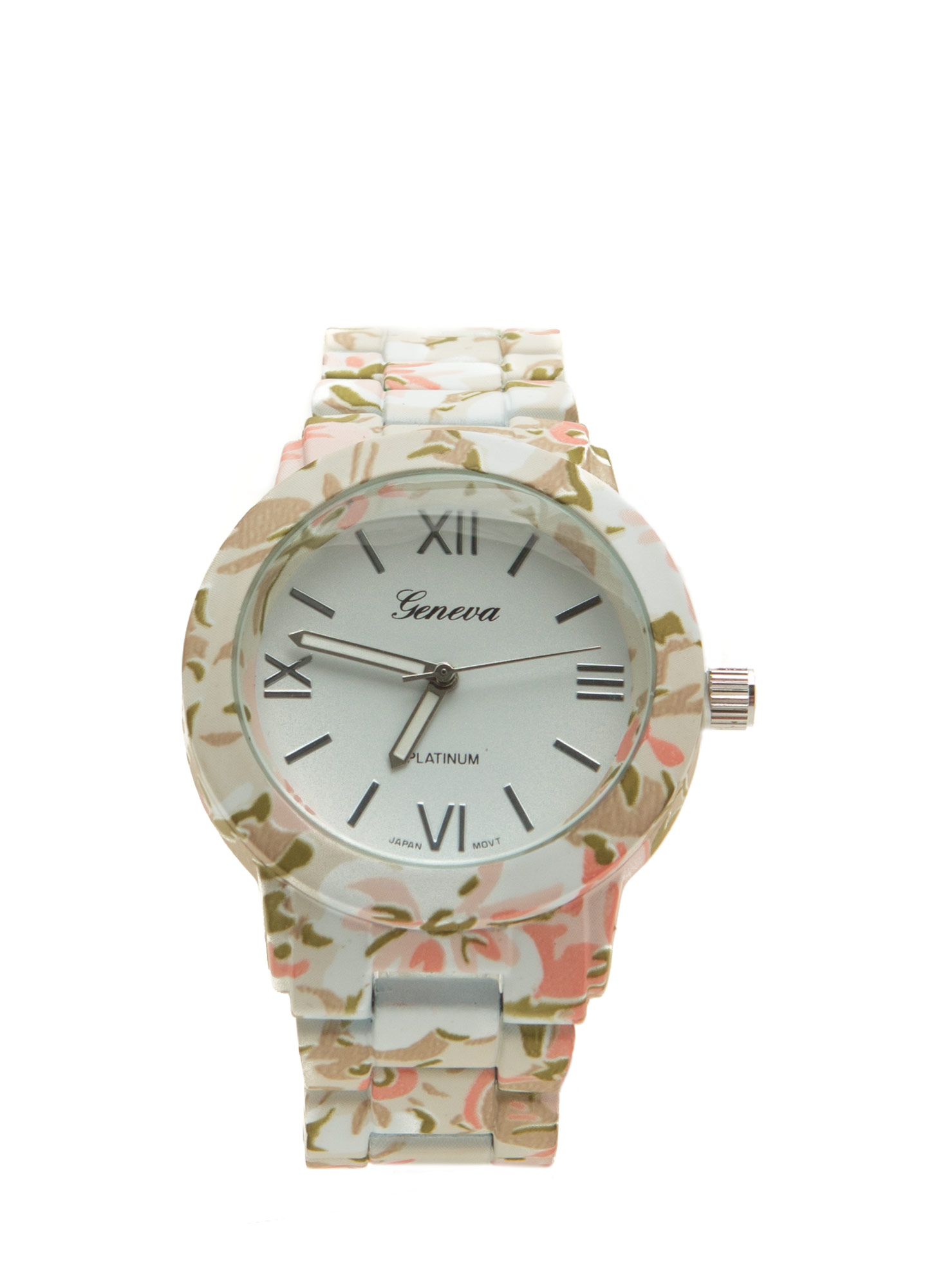 Patterned Coated Boyfriend Watch WHITEMULTI