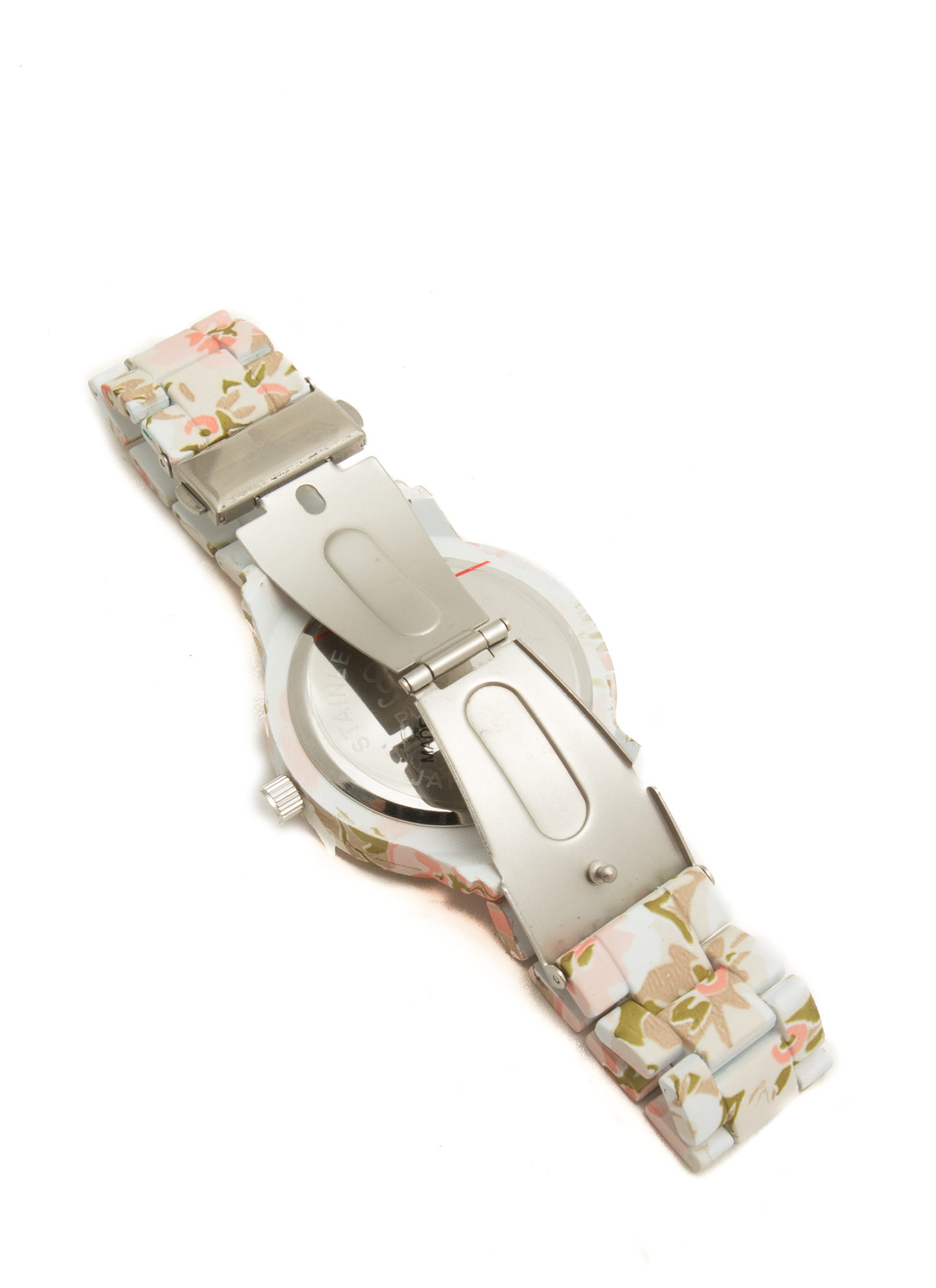 Patterned Coated Boyfriend Watch WHITEMULTI   (Final Sale)
