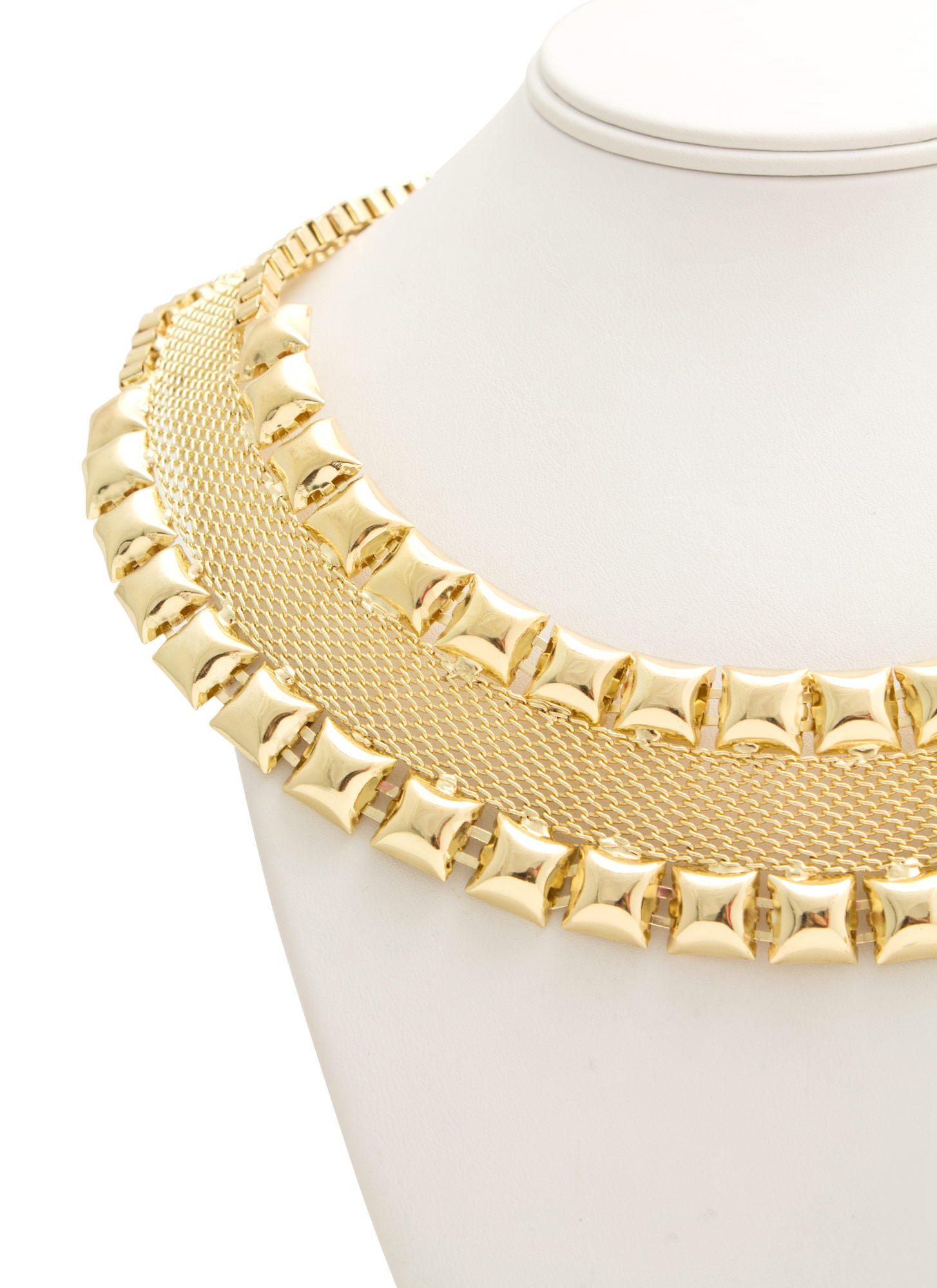 Studded Mesh Necklace Set GOLD