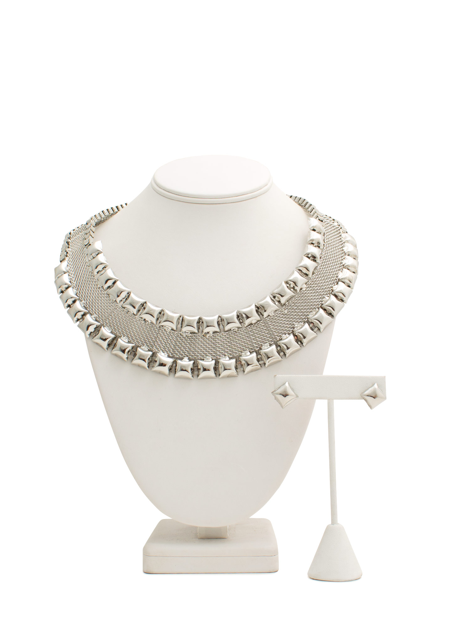 Studded Mesh Necklace Set SILVER