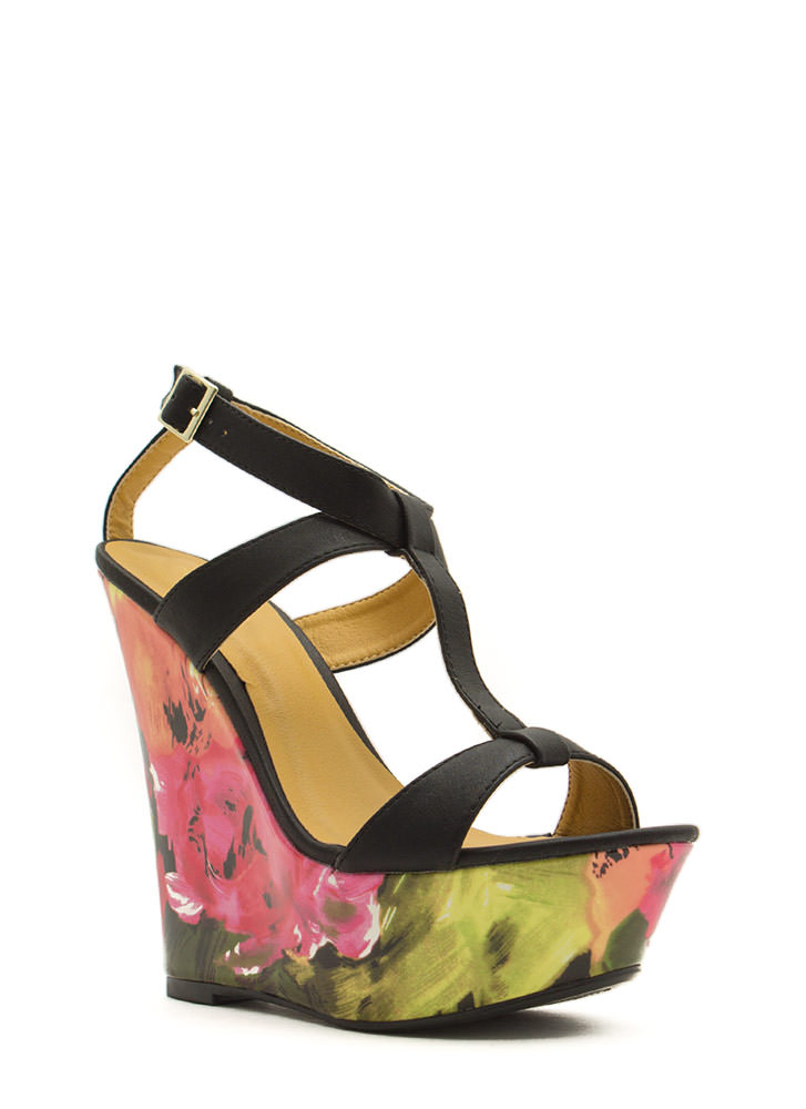 Painted Floral Platform Wedges BLACK