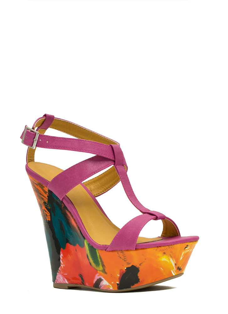 Painted Floral Platform Wedges FUCHSIA
