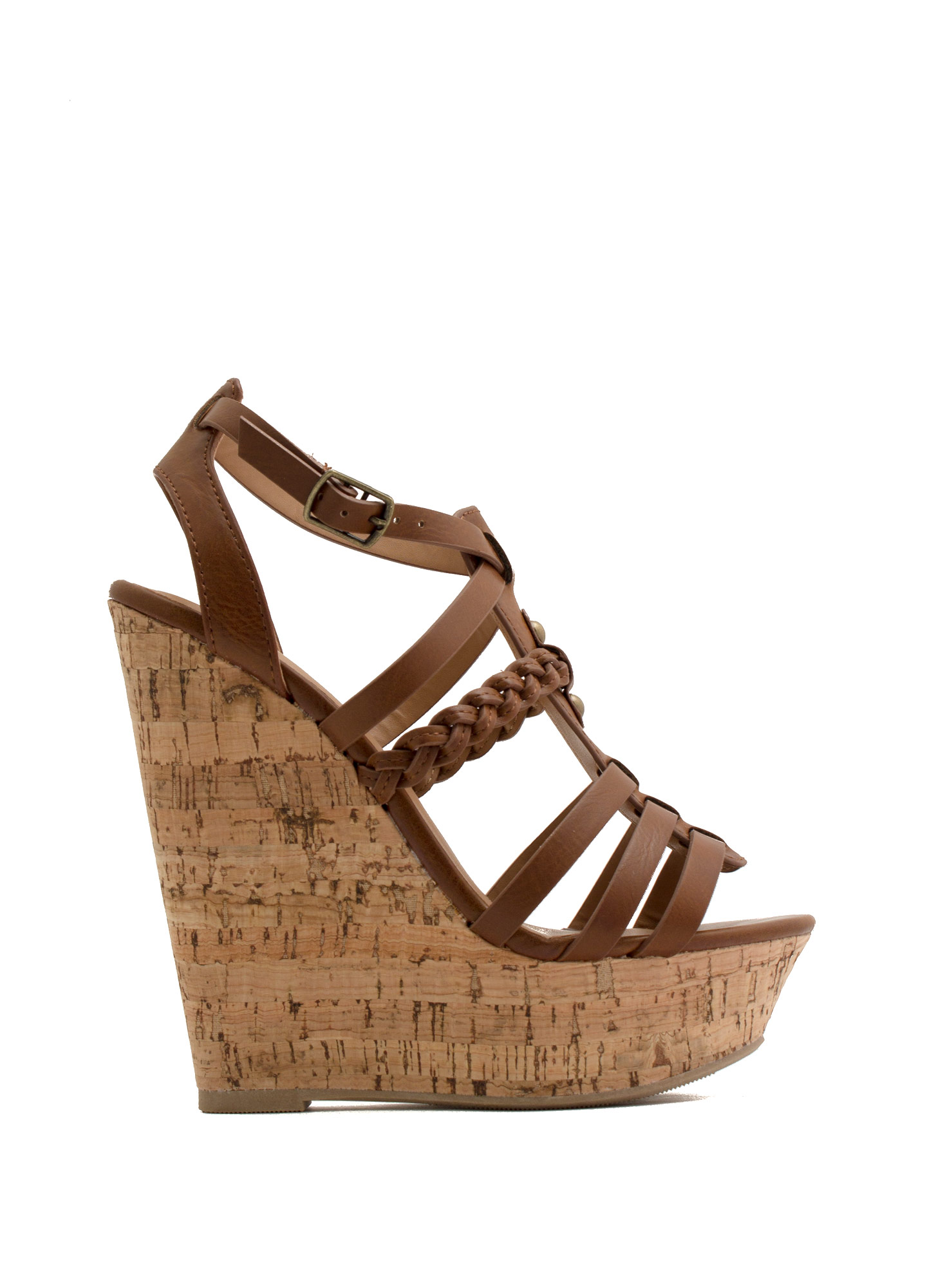 Braided 'N Strappy Gladiator Wedges TAN