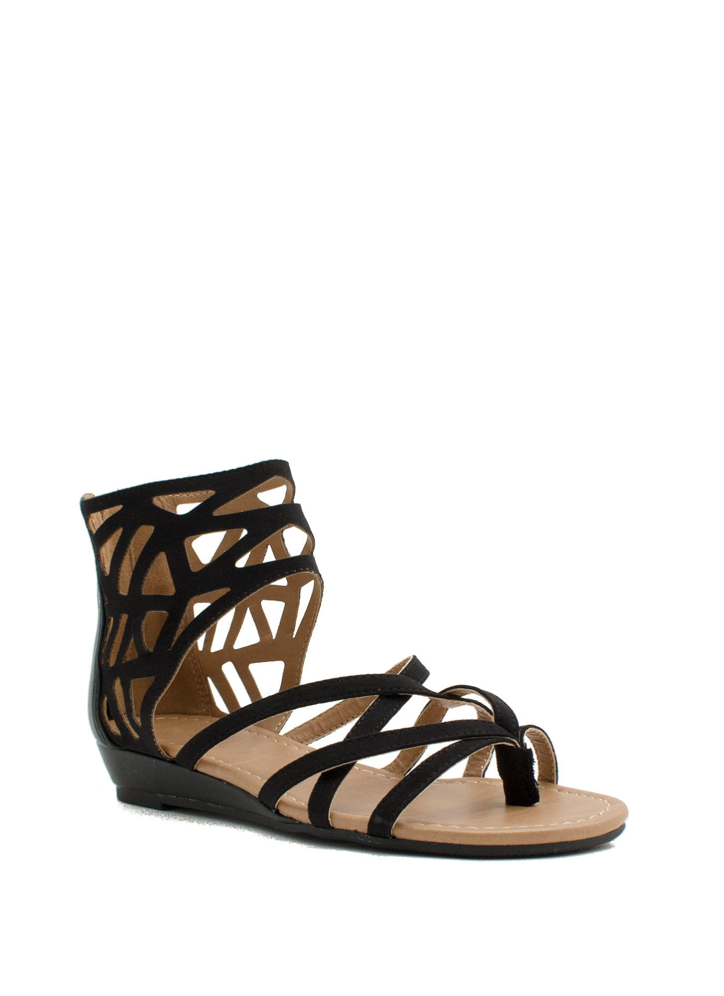 Too Haute Faux Leather Cut-Out Sandals BLACK