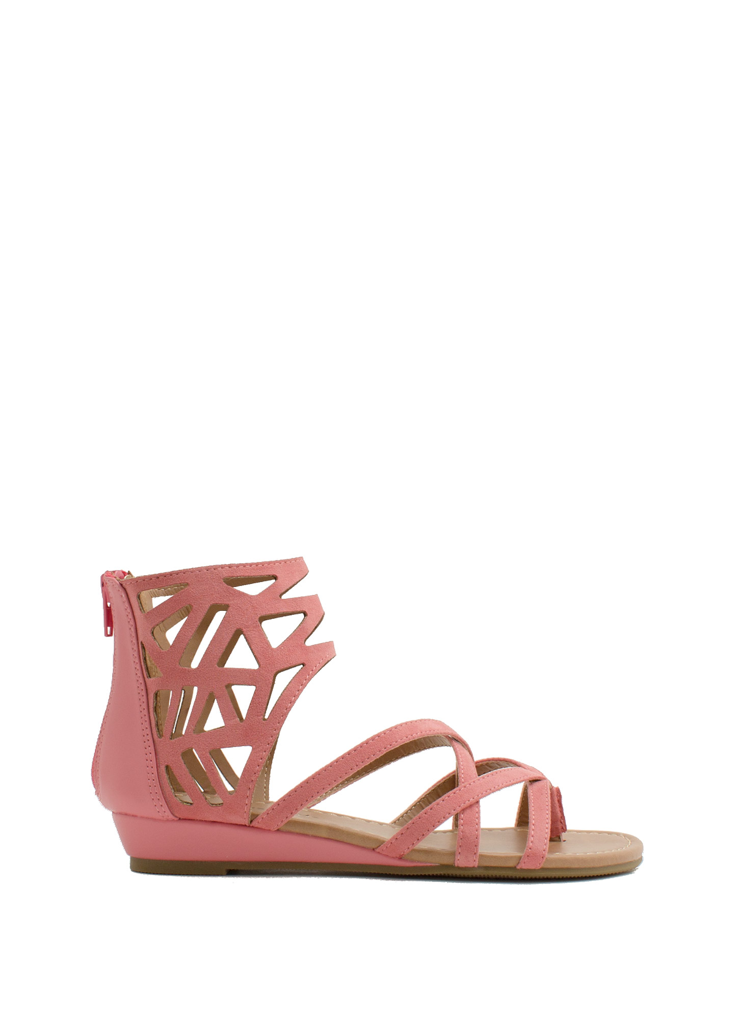 Too Haute Faux Leather Cut-Out Sandals SALMON