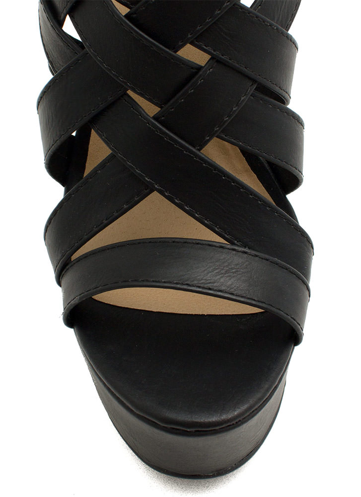 Strapper's Delight Woven Wedges BLACK