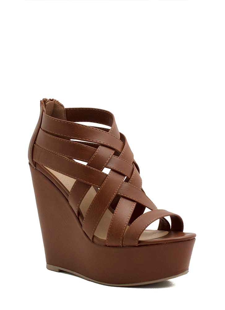 Strapper's Delight Woven Wedges TAN