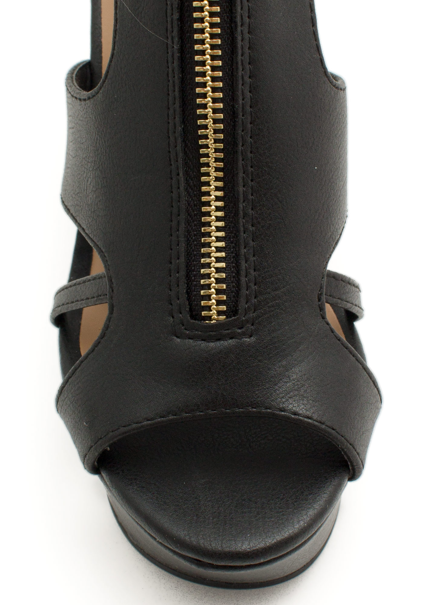 Zip It Good Strappy Cut-Out Wedges BLACK