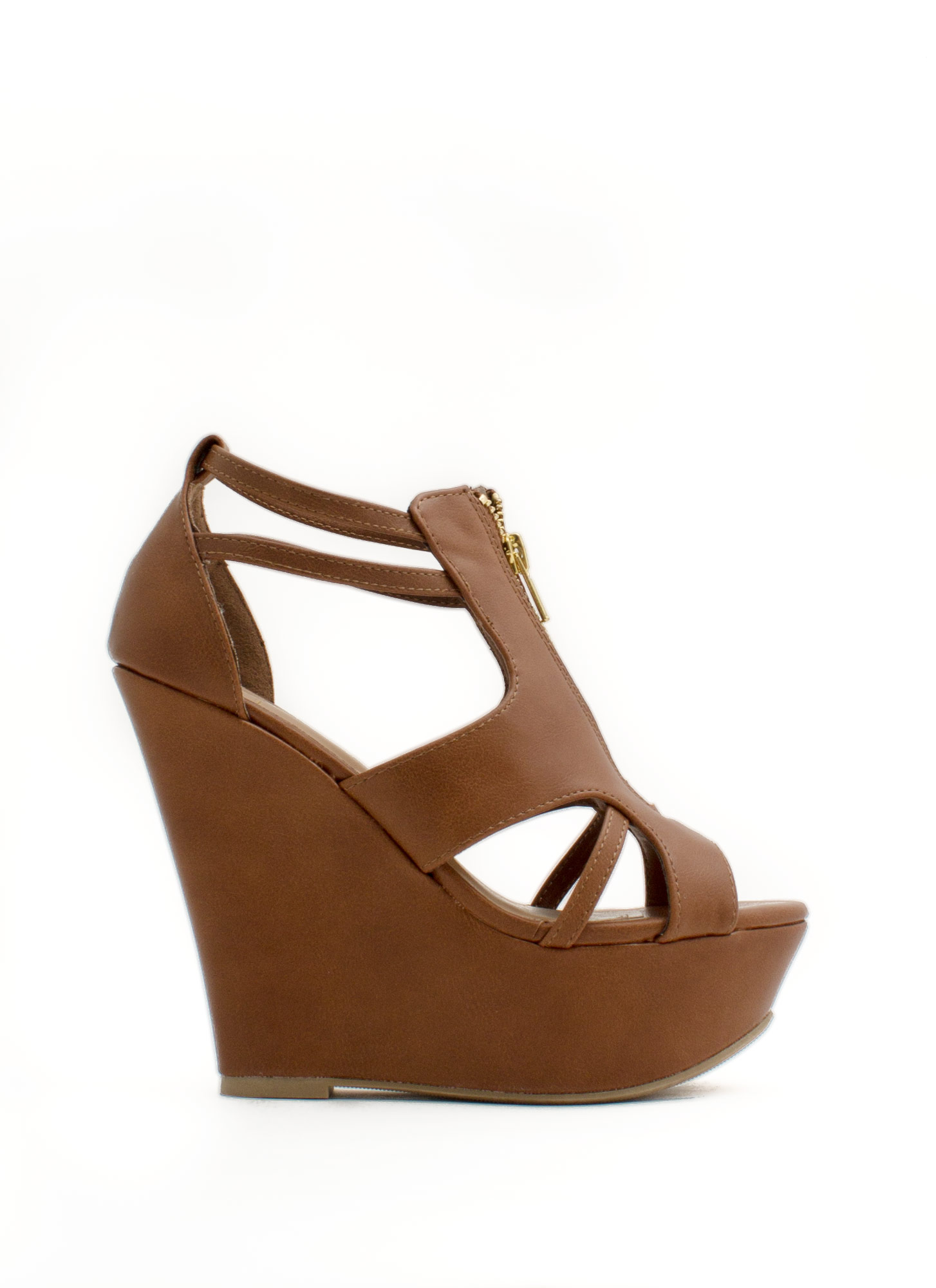 Zip It Good Strappy Cut-Out Wedges LTTAN