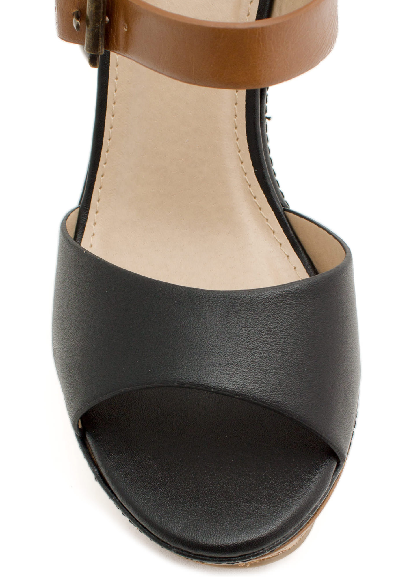 Double Down Strappy Faux Cork Wedges BLACKTAN