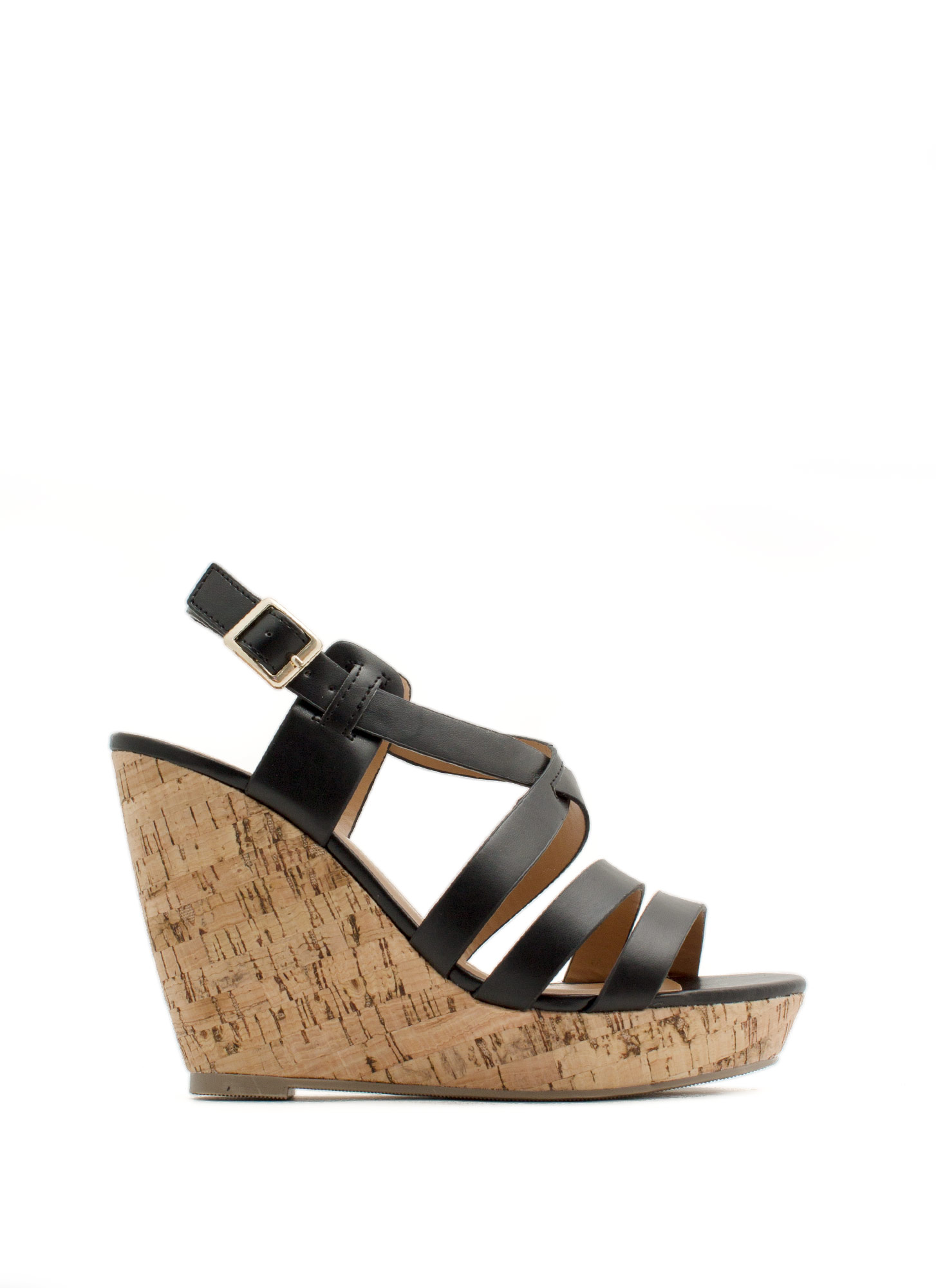 What's Strappening Cork Wedges BLACK