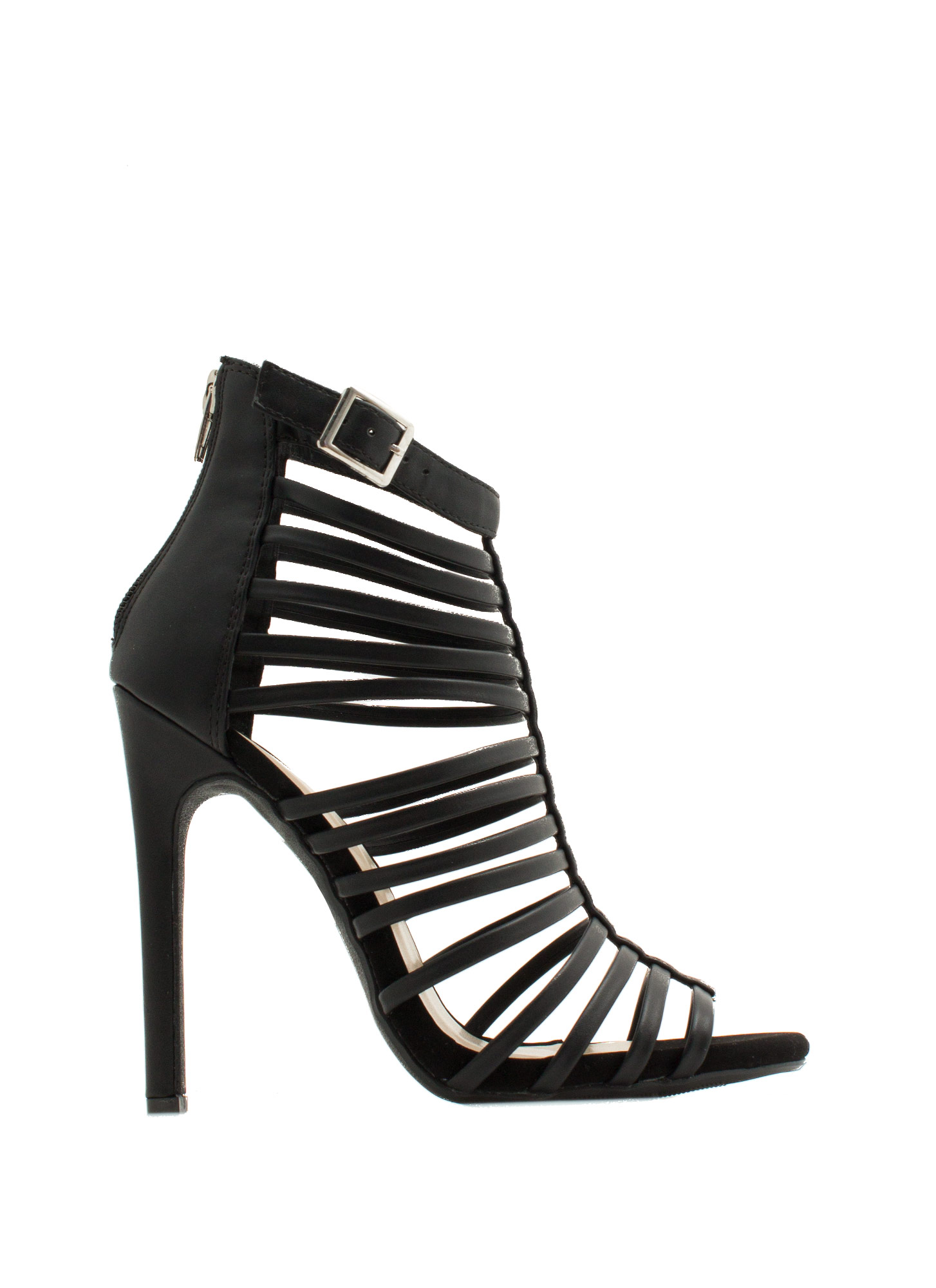 Cage Match Strappy Heels BLACK