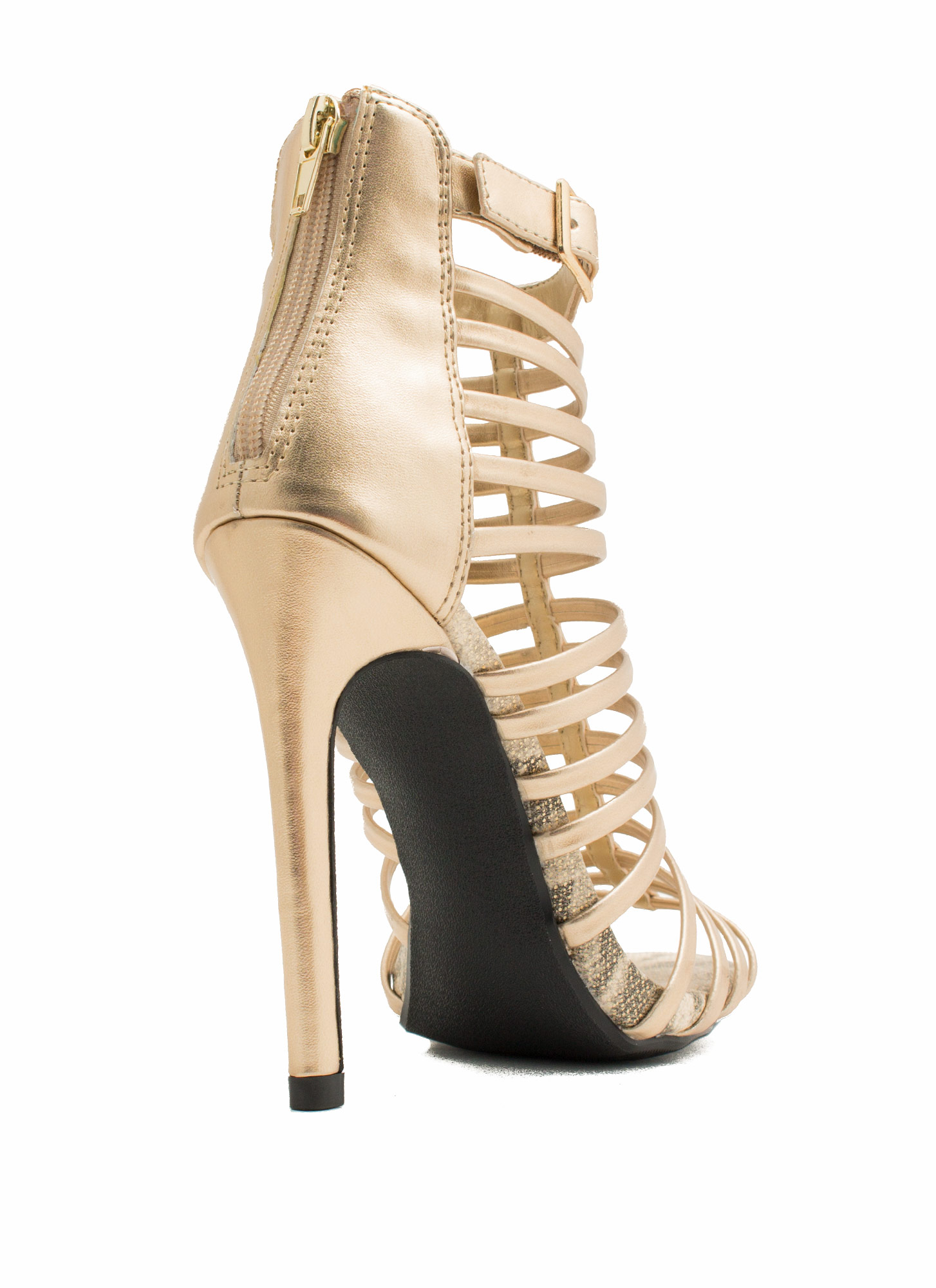 Cage Match Strappy Heels GOLD