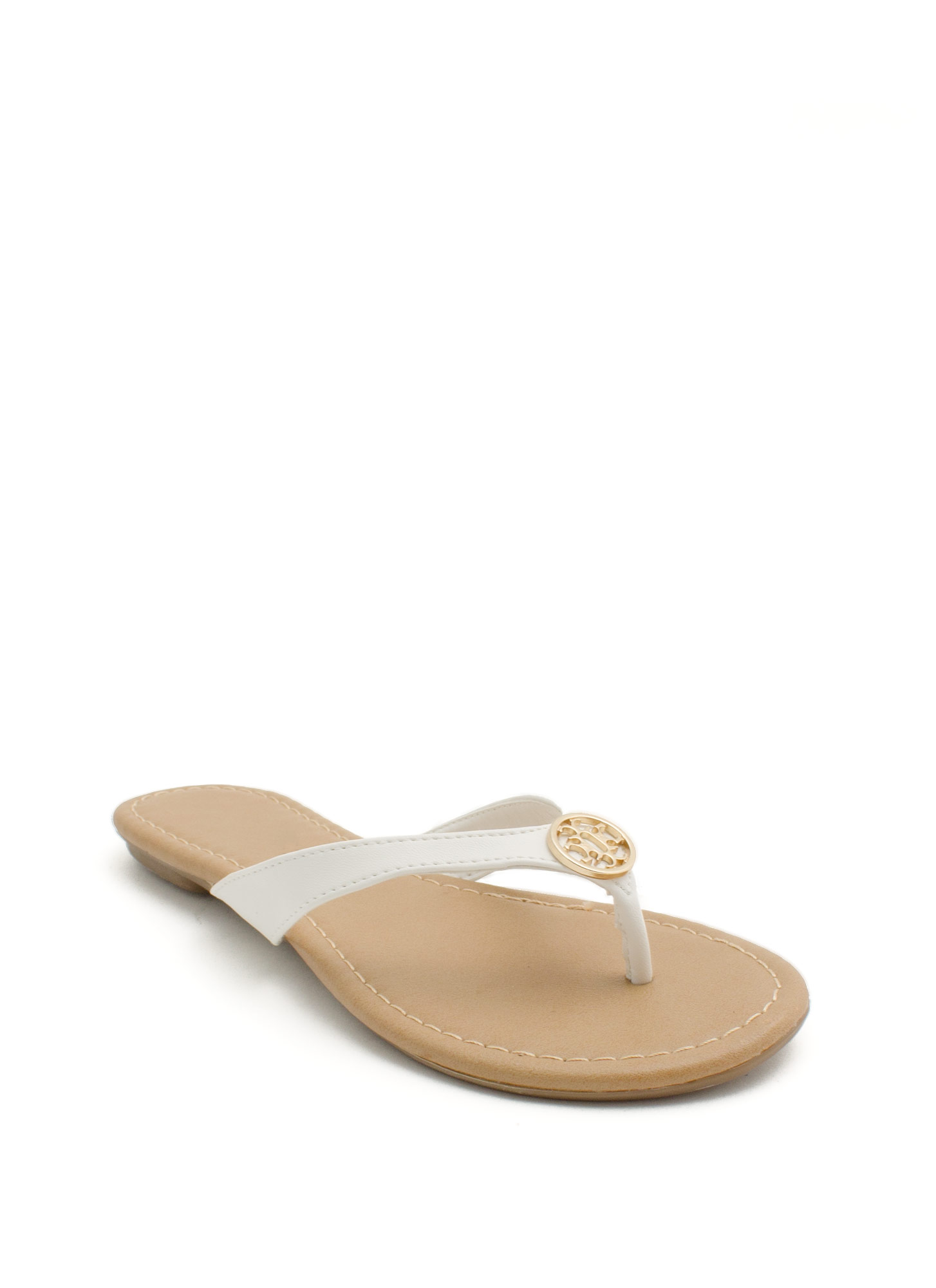 Mini Medallion Thong Sandals WHITE