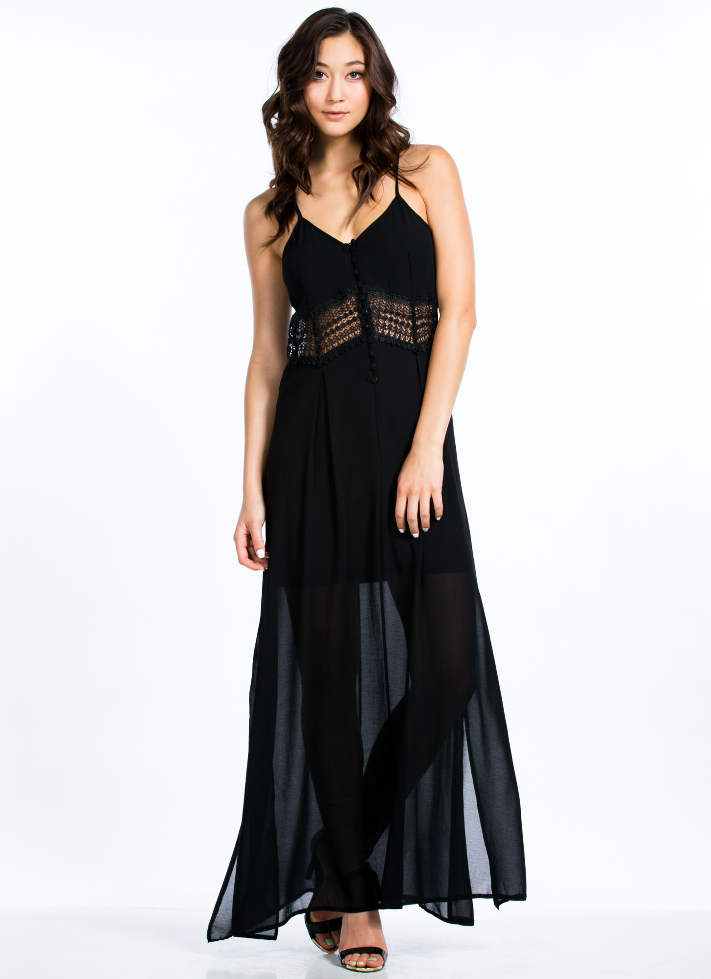Crochet Inset Buttoned Maxi BLACK