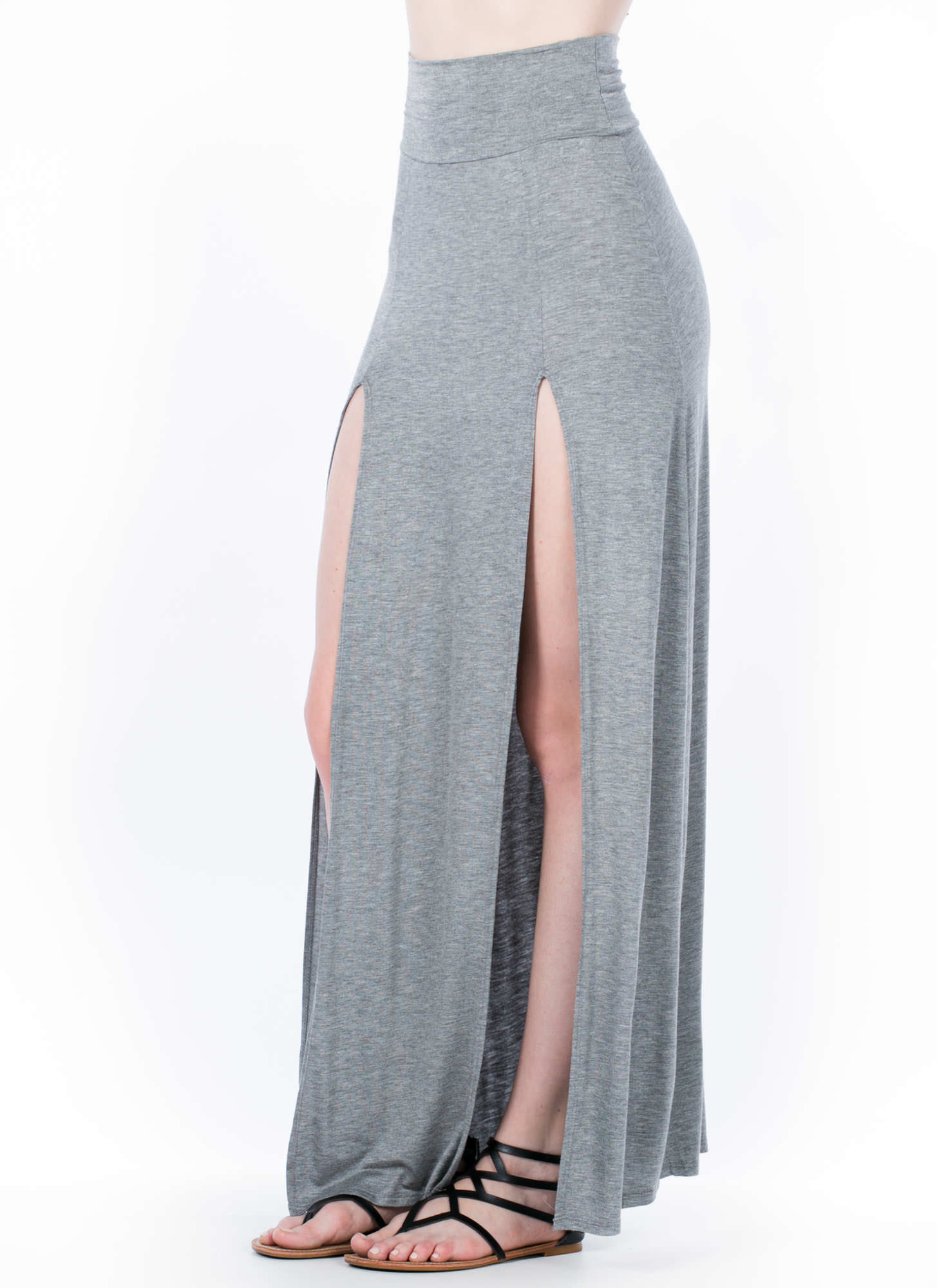 Double The Trouble Slit Maxi Skirt HGREY
