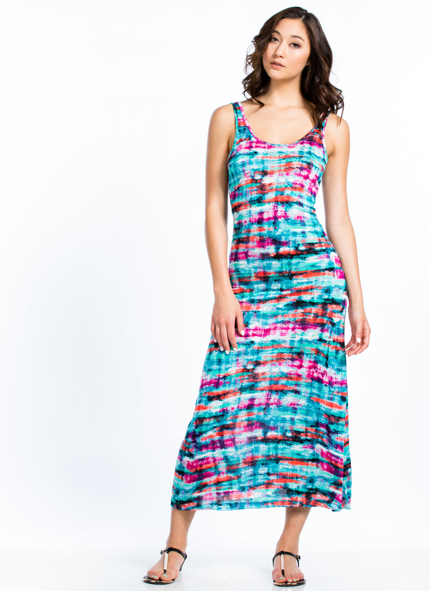 Abstract Watercolor Maxi Dress MULTI