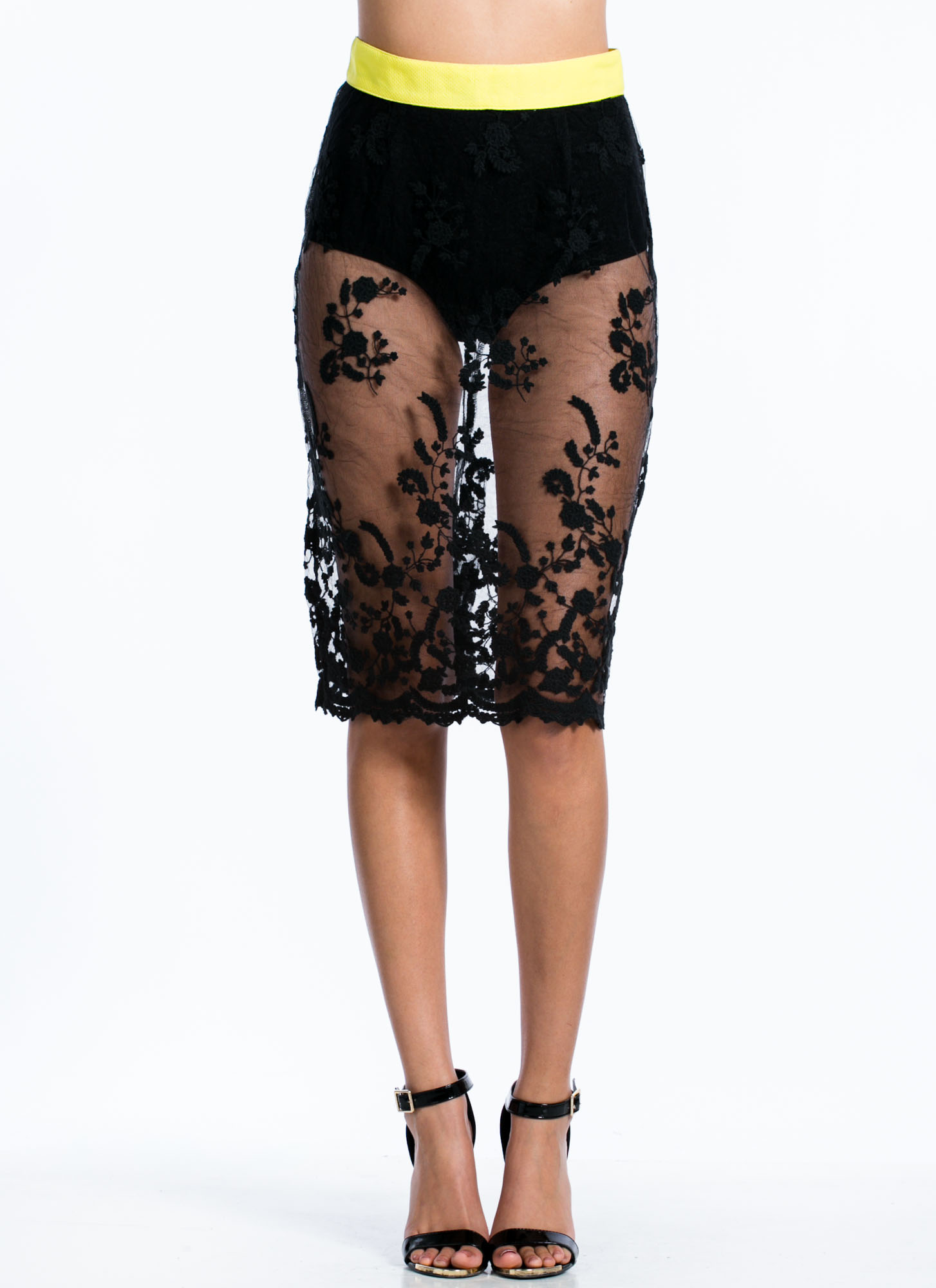 Sheer Thing Floral Lace Midi Skirt BLACK