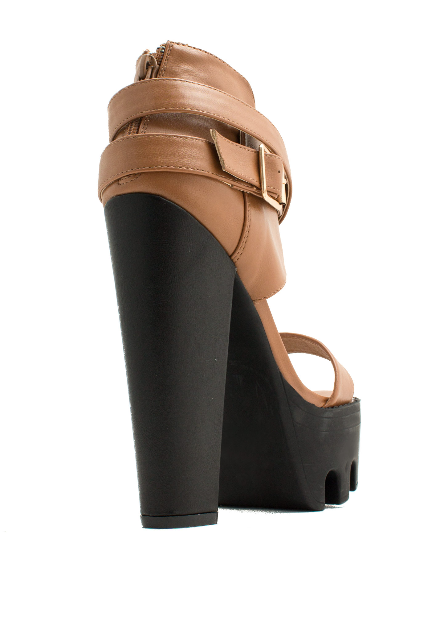 Rugged 'N Chic Single-Strap Heels WHISKY