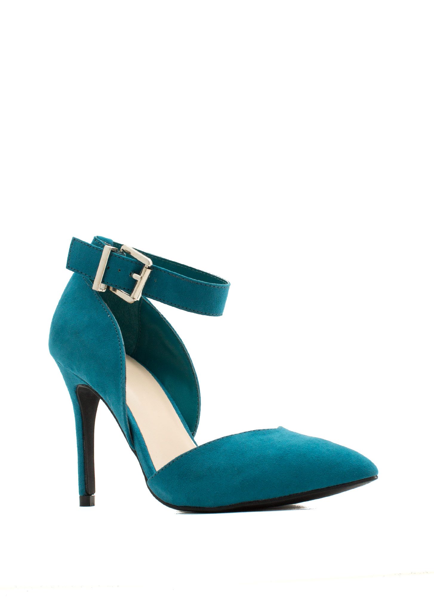 Fancy-Free Faux Suede Heels TEAL