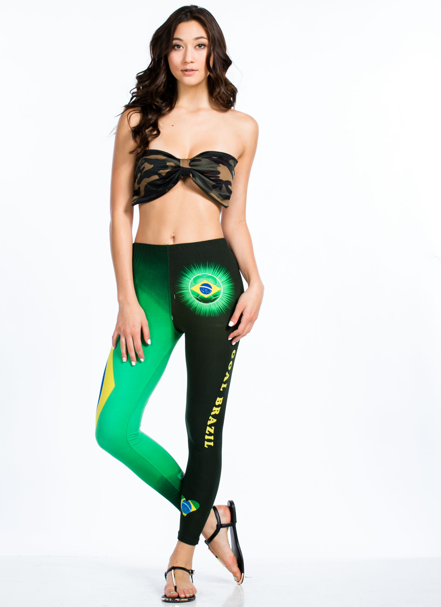 Goal Brazil Flag Design Leggings GREEN