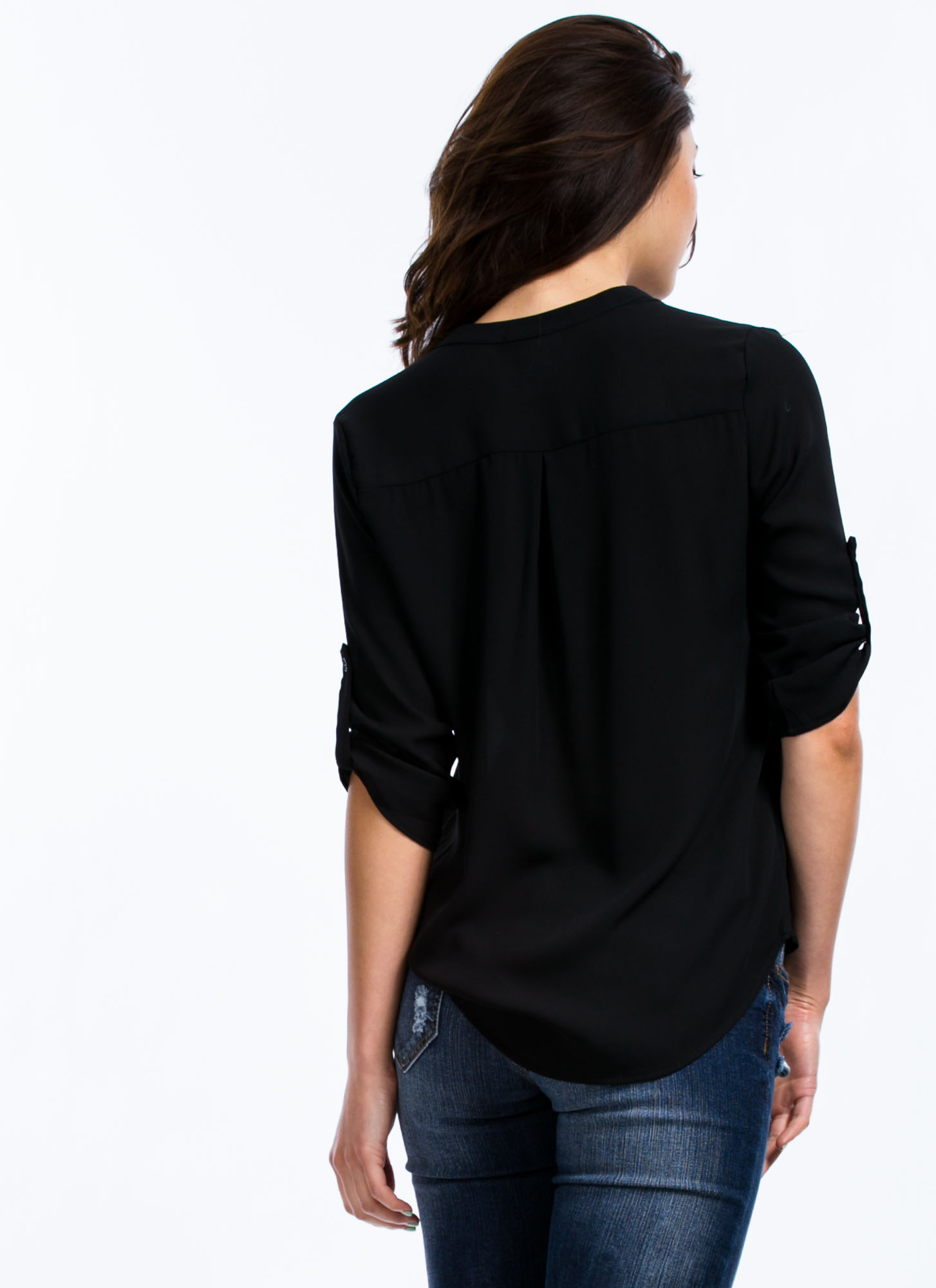 Let's Roll Up Blouse BLACK