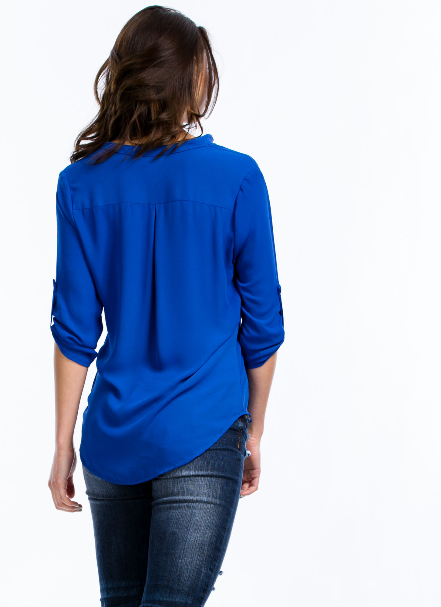 Let's Roll Up Blouse ROYAL