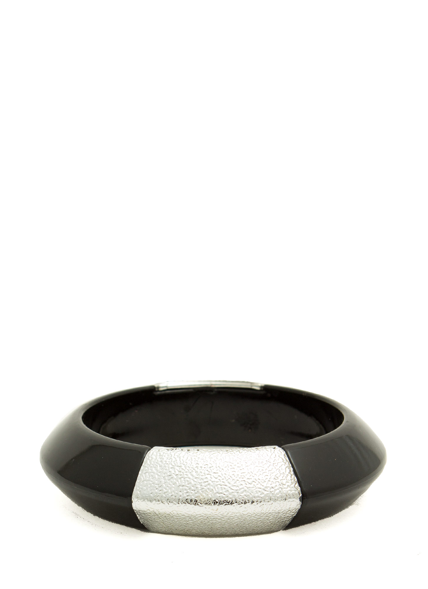 Metallic Accent Chunky Resin Bangle BLACK