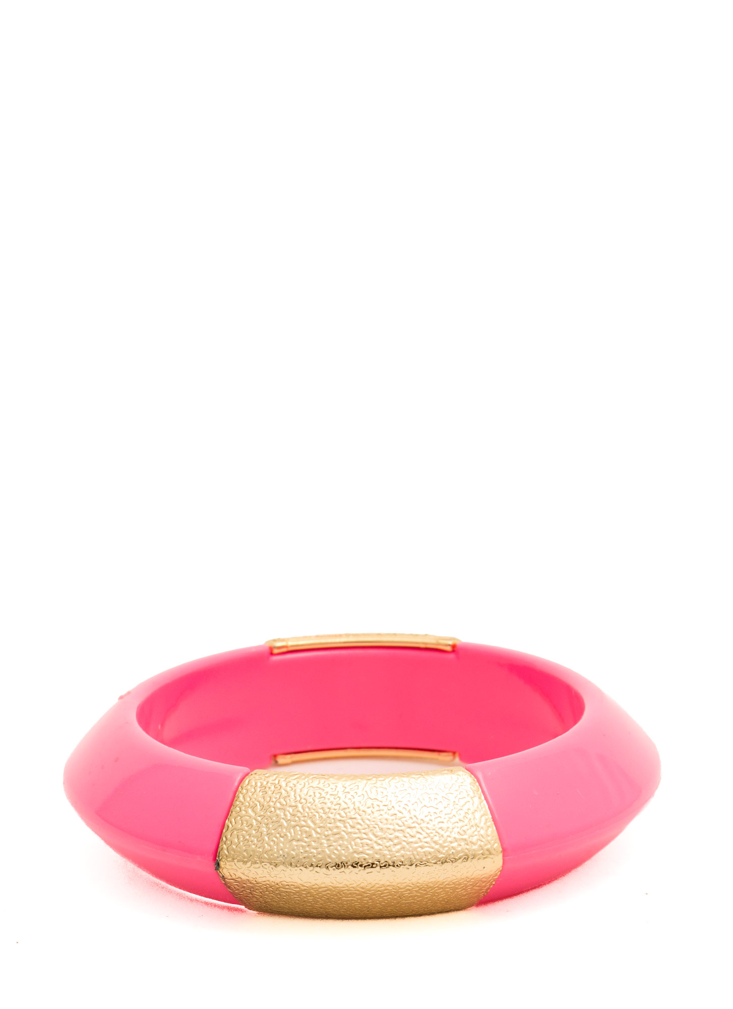 Metallic Accent Chunky Resin Bangle HOTPINK