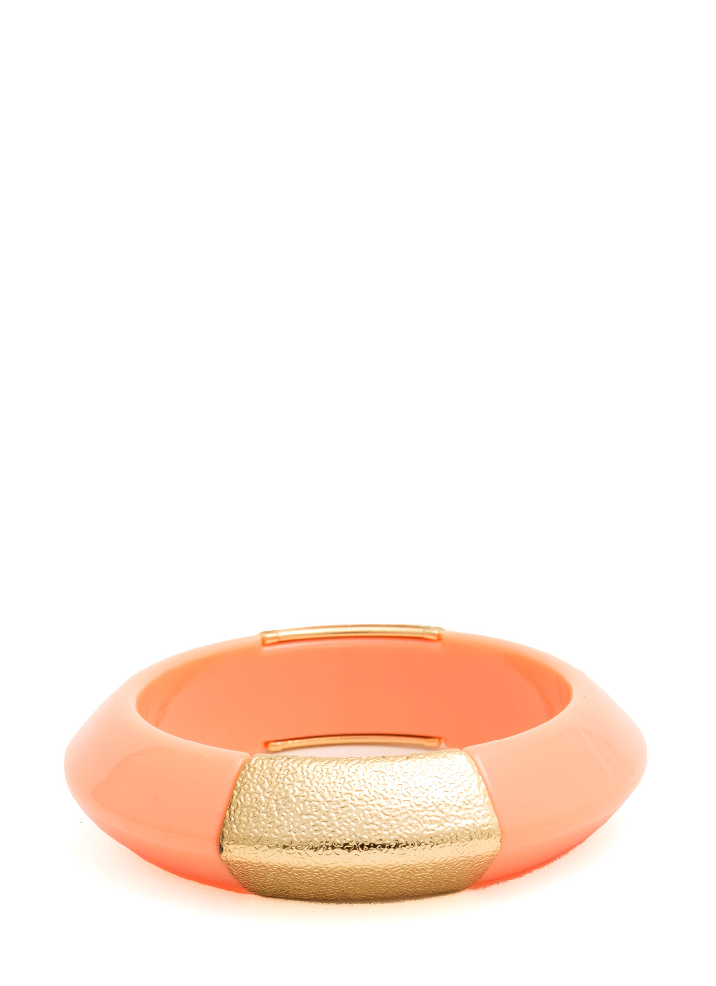Metallic Accent Chunky Resin Bangle PEACH