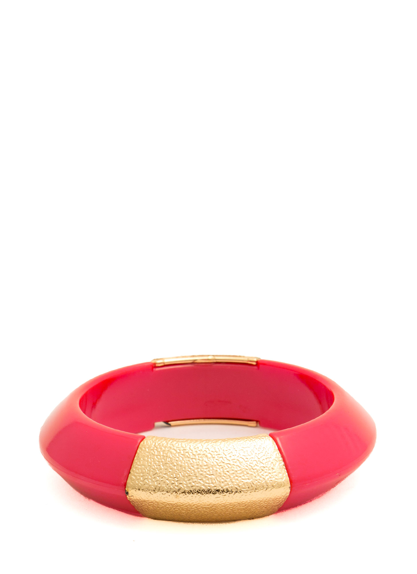 Metallic Accent Chunky Resin Bangle RED