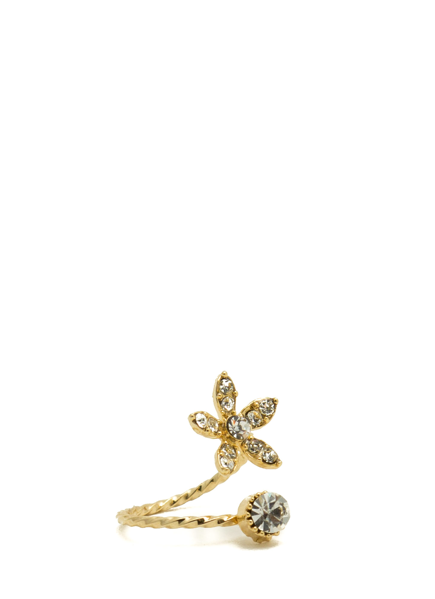Jeweled Daisy Twisted Midi Ring GOLD