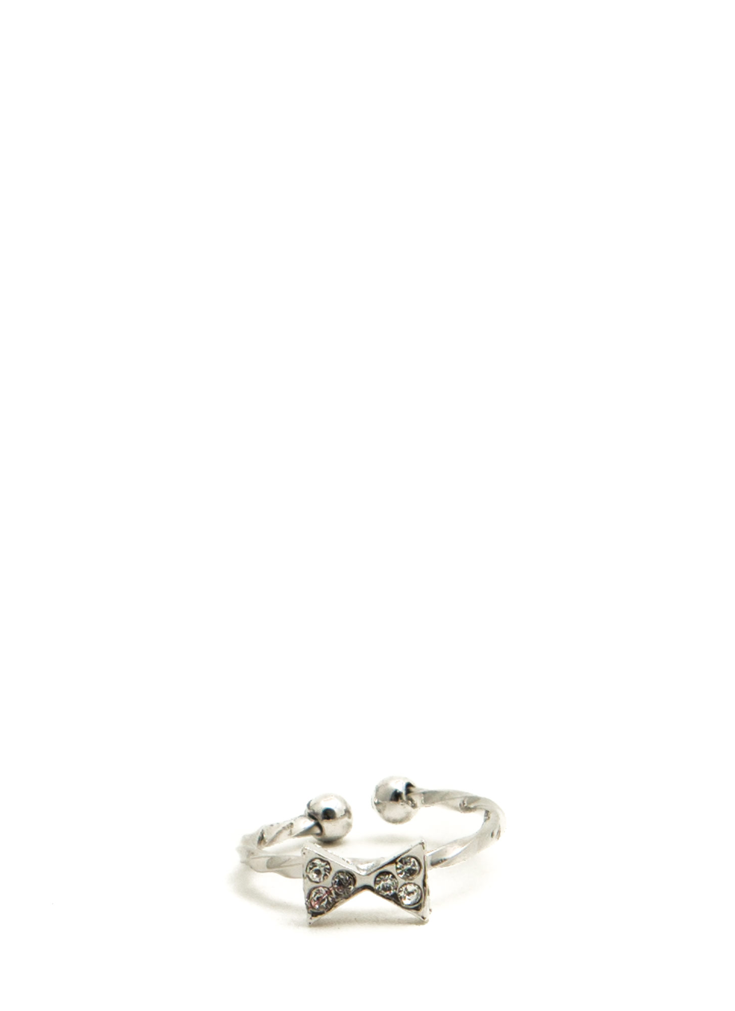 Jeweled Bowtie Twisted Midi Ring SILVER