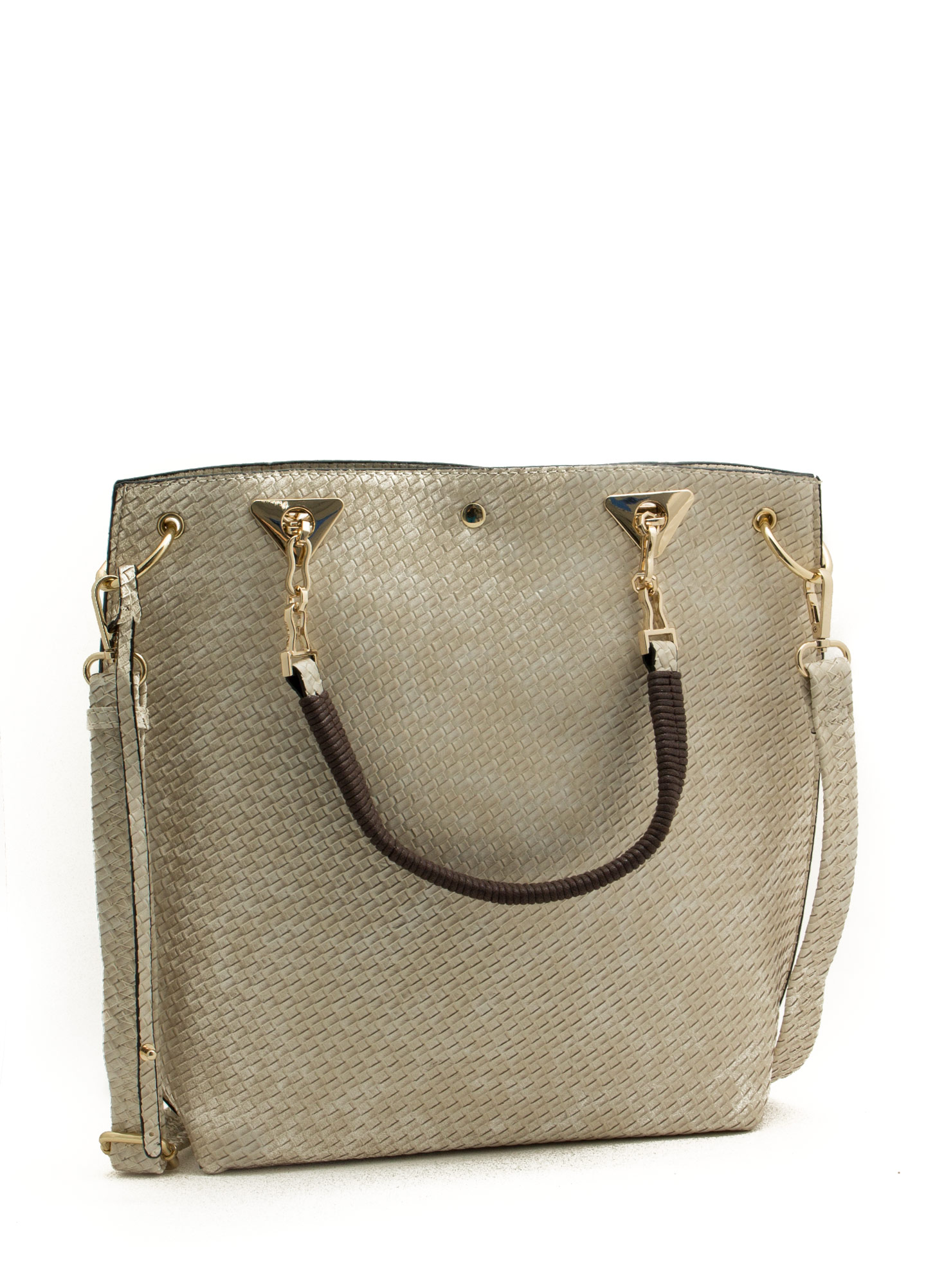 Woven Textured Tote Bag BEIGE