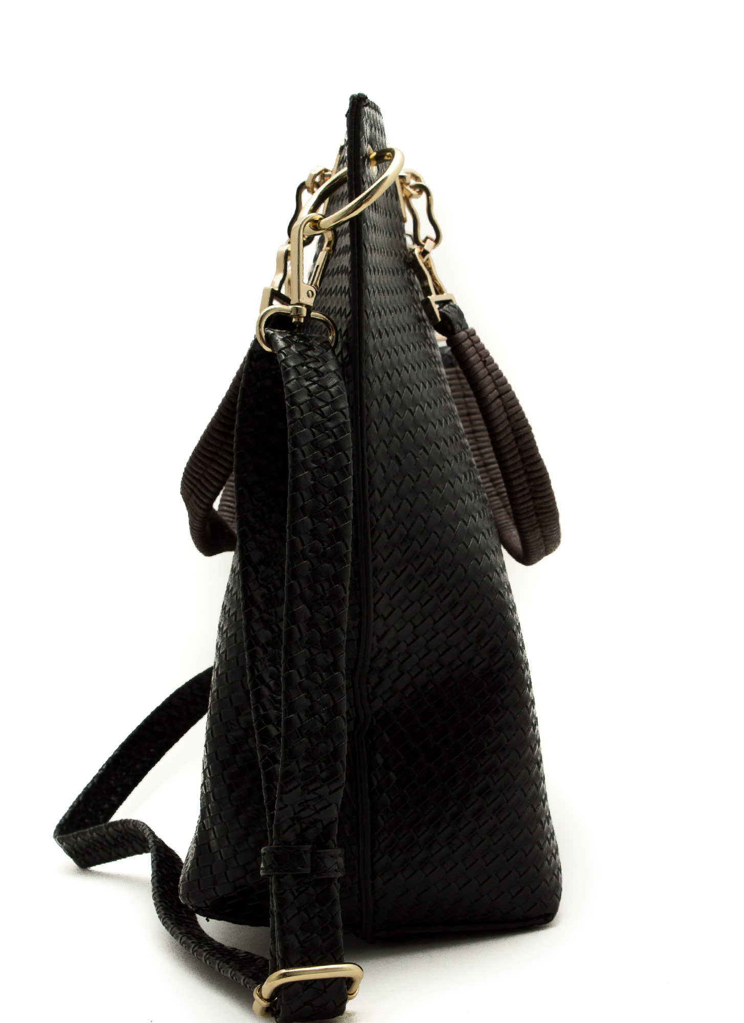 Woven Textured Tote Bag BLACK