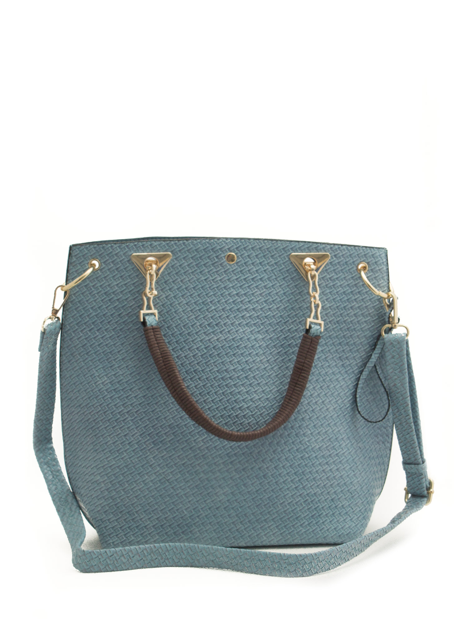 Woven Textured Tote Bag BLUE