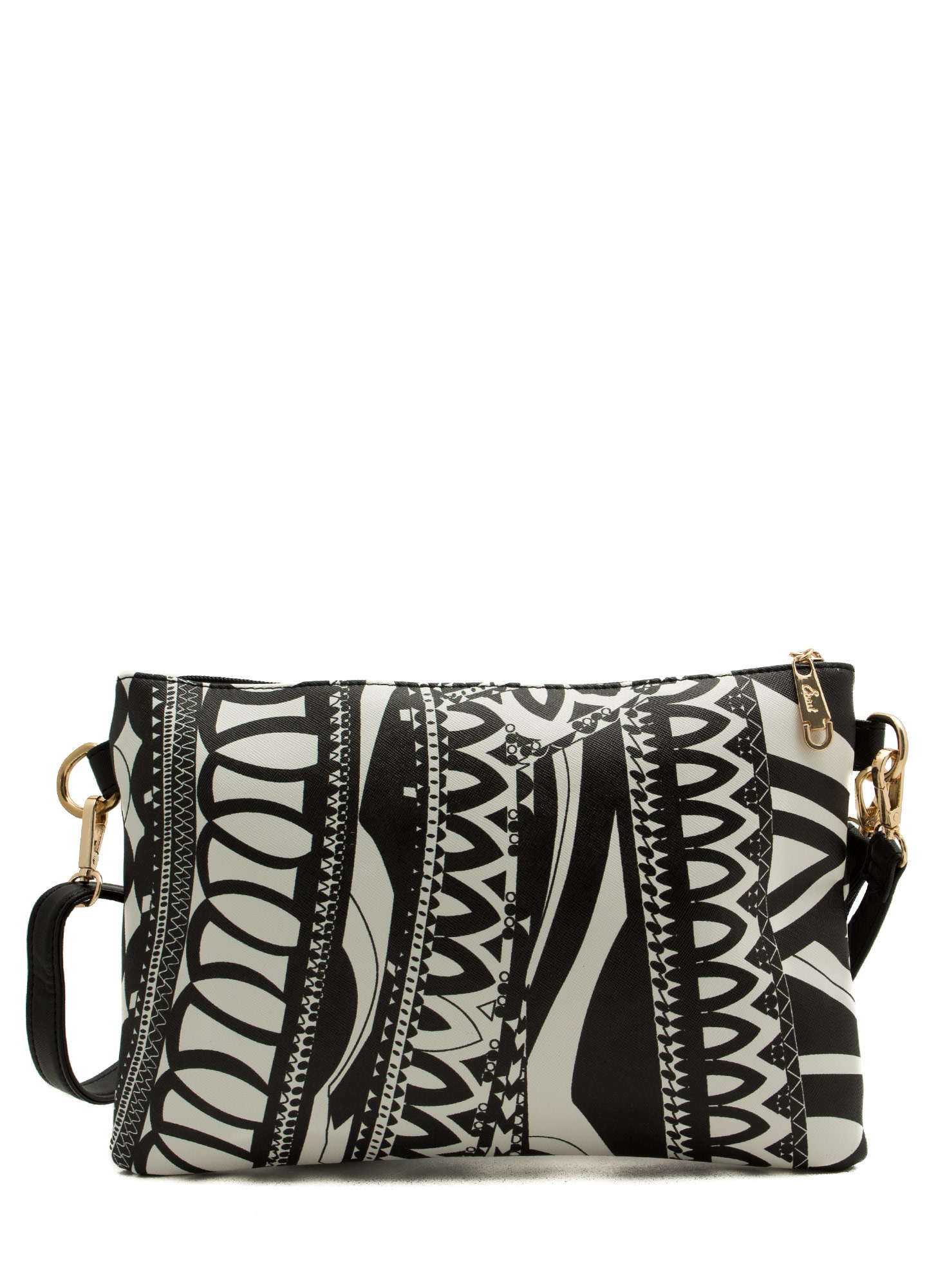 Contrasting Patterned Clutch BLACKWHITE