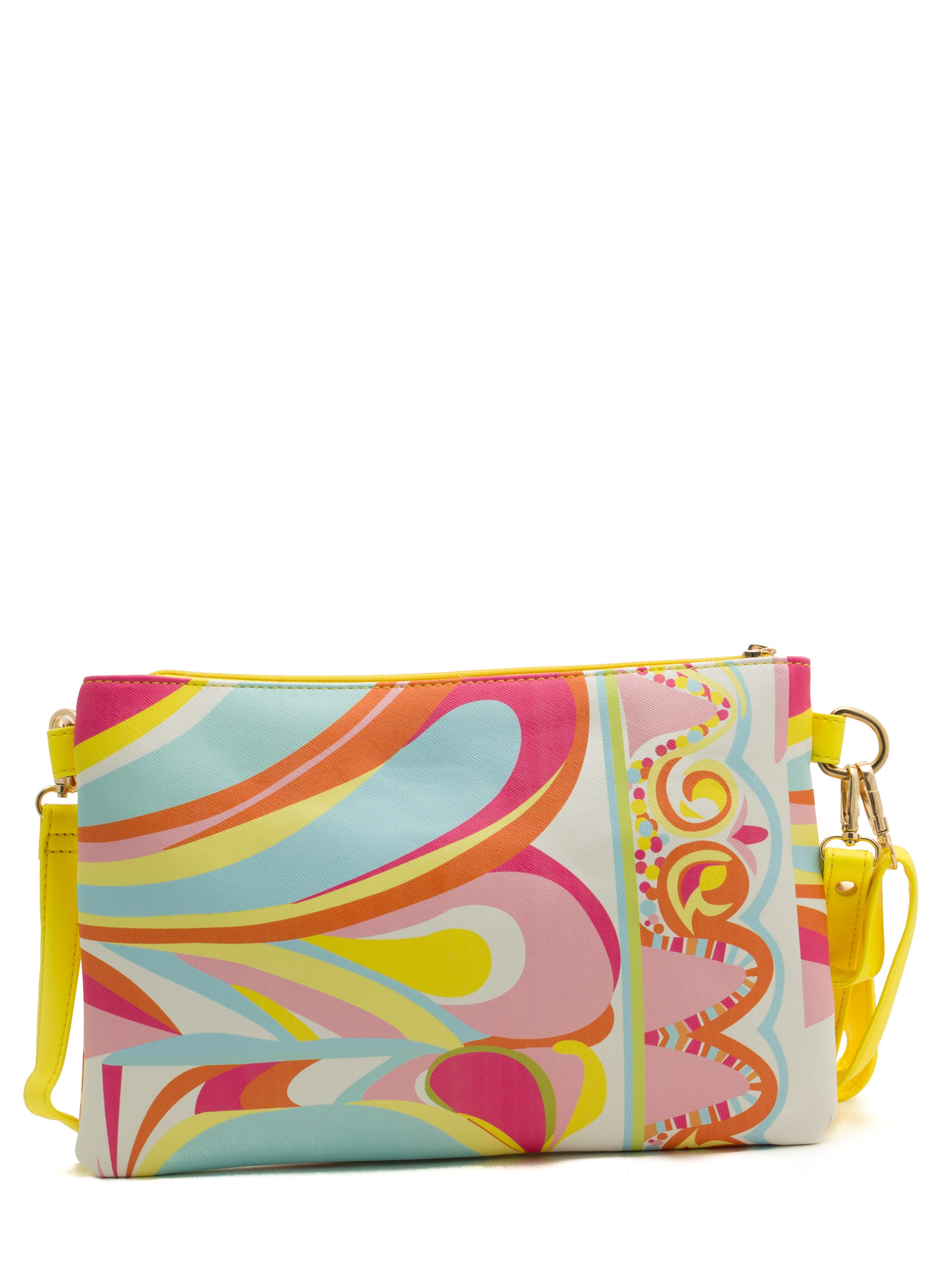 Contrasting Patterned Clutch YELLOWWHT