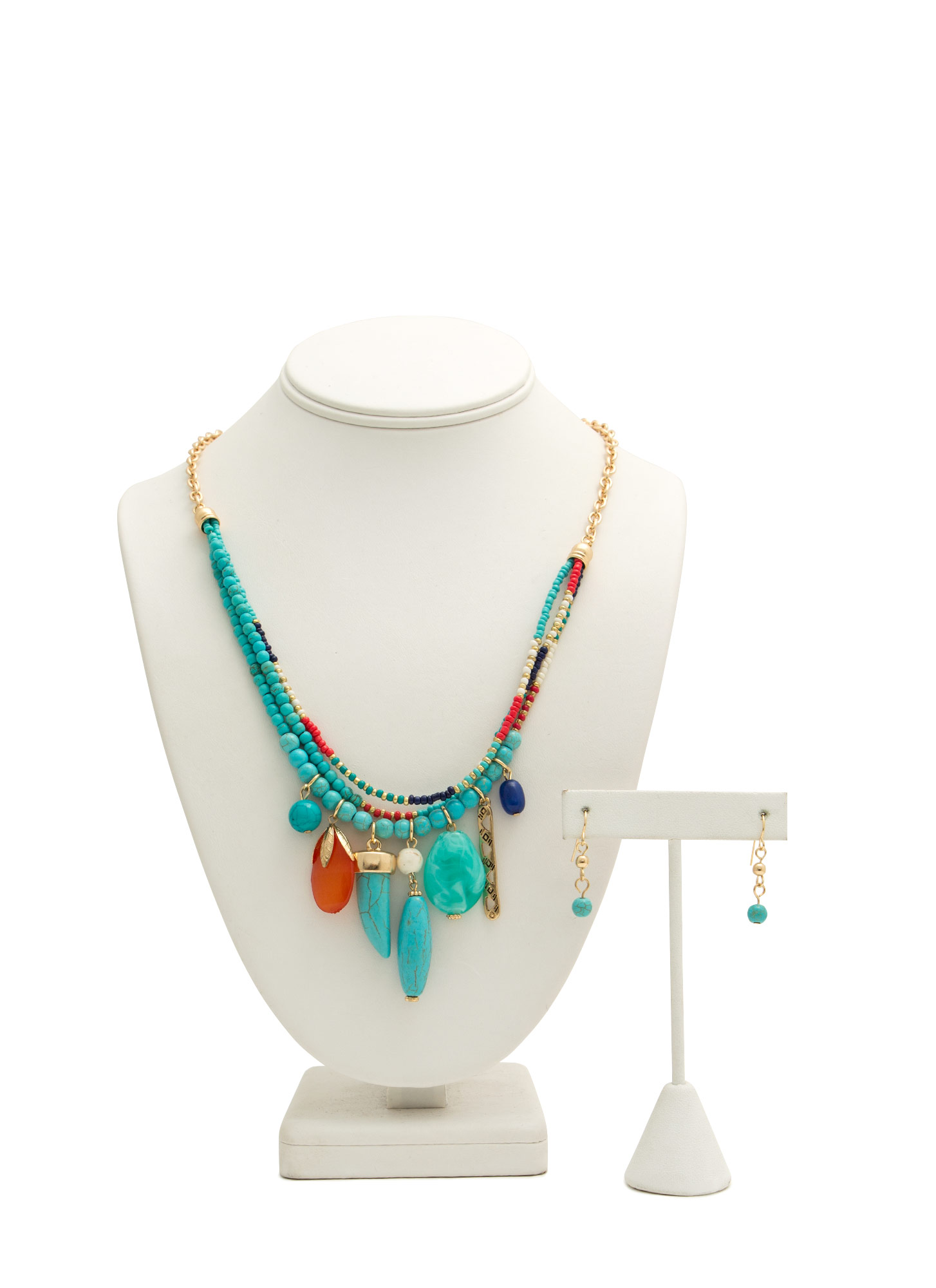 Tribal Talismans Beaded Necklace Set TURQMULTI